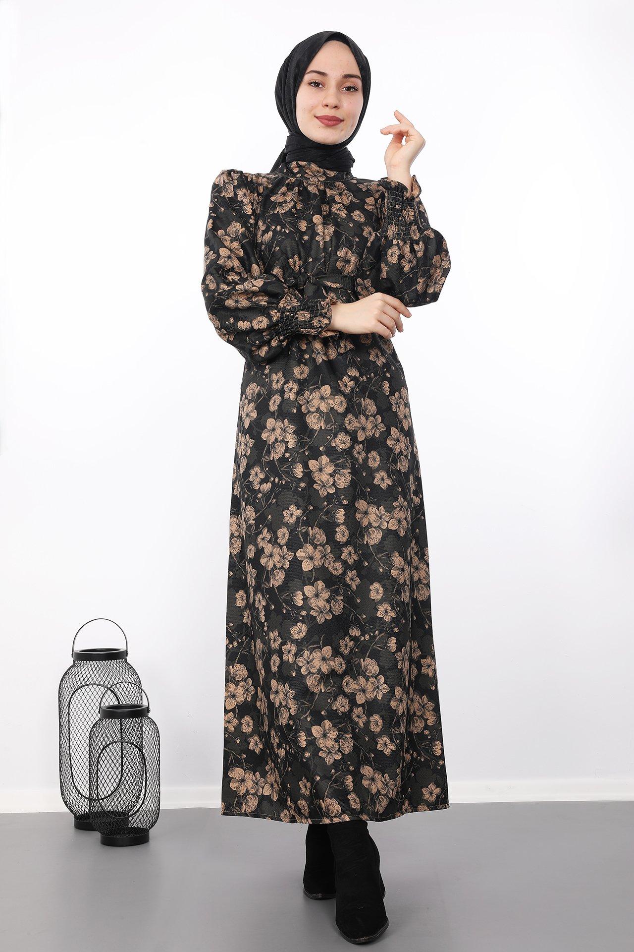 GİZAGİYİM - Çiçekli Tesettür Elbise Siyah