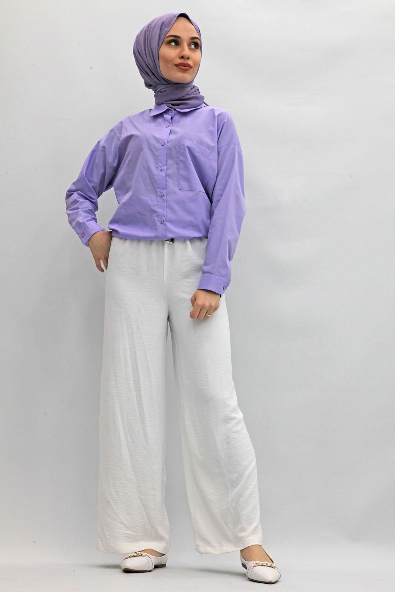 GİZAGİYİM - Bol Paça Aerobin Pantolon Beyaz