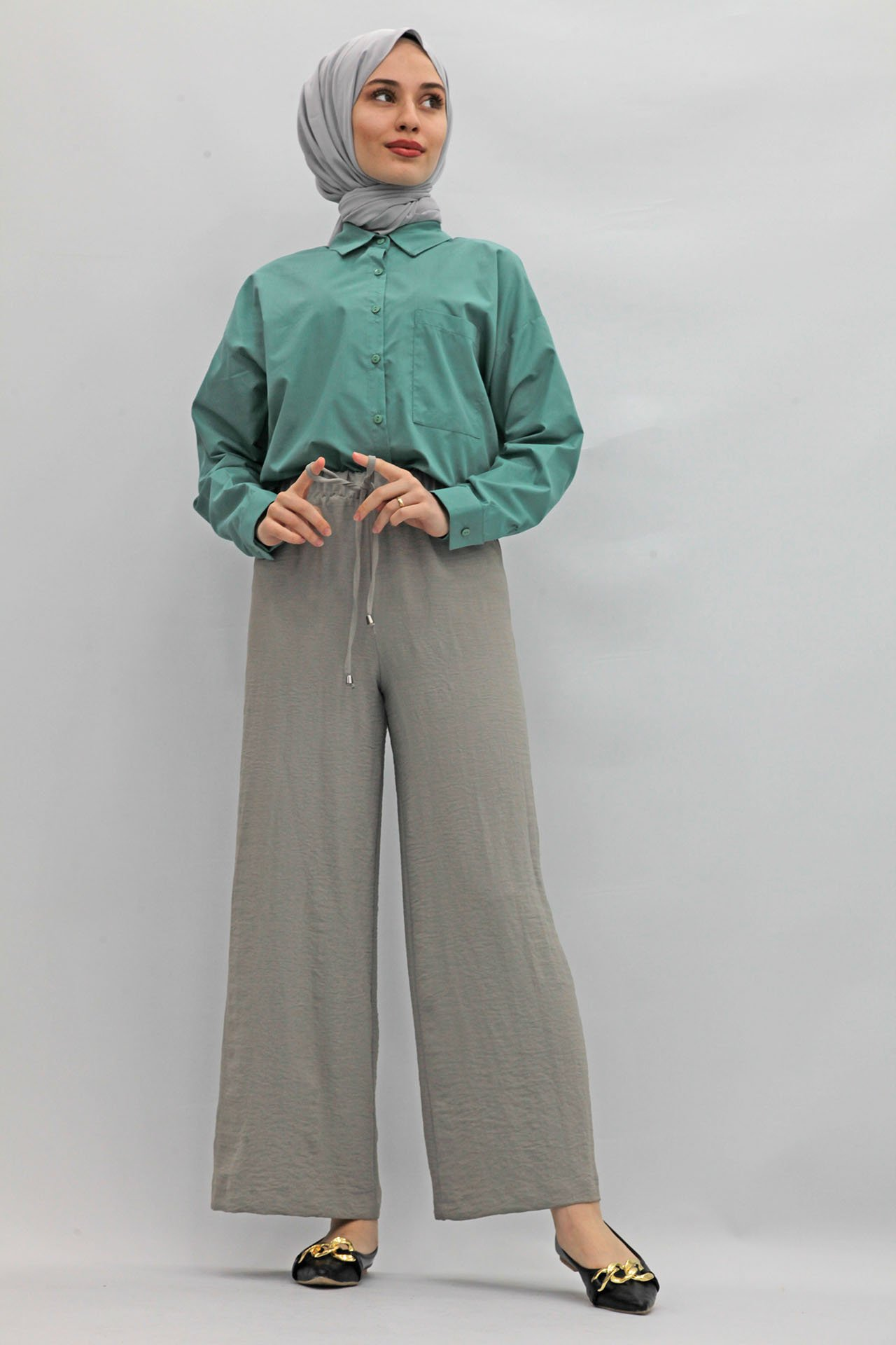 GİZAGİYİM - Bol Paça Aerobin Pantolon Gri