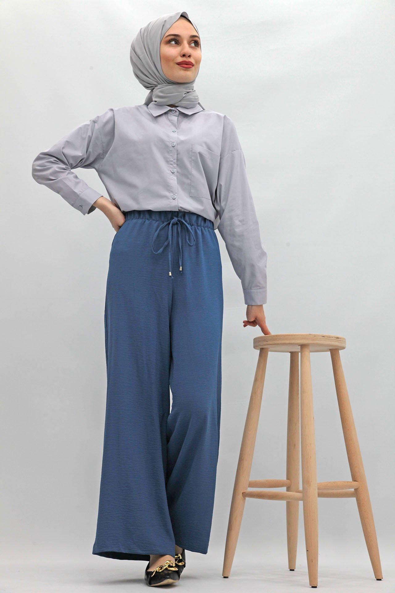 GİZAGİYİM - Bol Paça Aerobin Pantolon İndigo