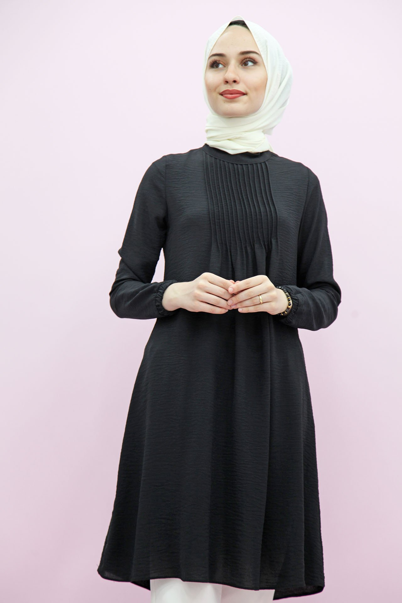 GİZAGİYİM - Kol Ucu Lastikli Tunik Siyah