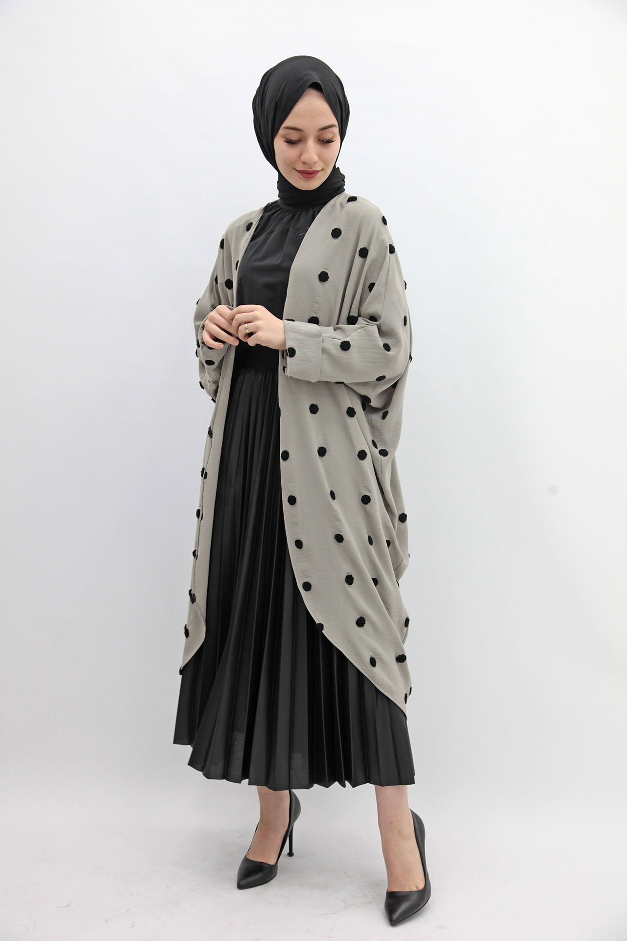 GİZAGİYİM - Puantiyeli Kimono Gri