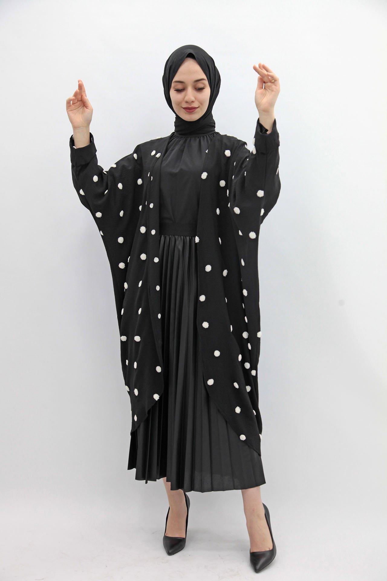 GİZAGİYİM - Puantiyeli Kimono Siyah