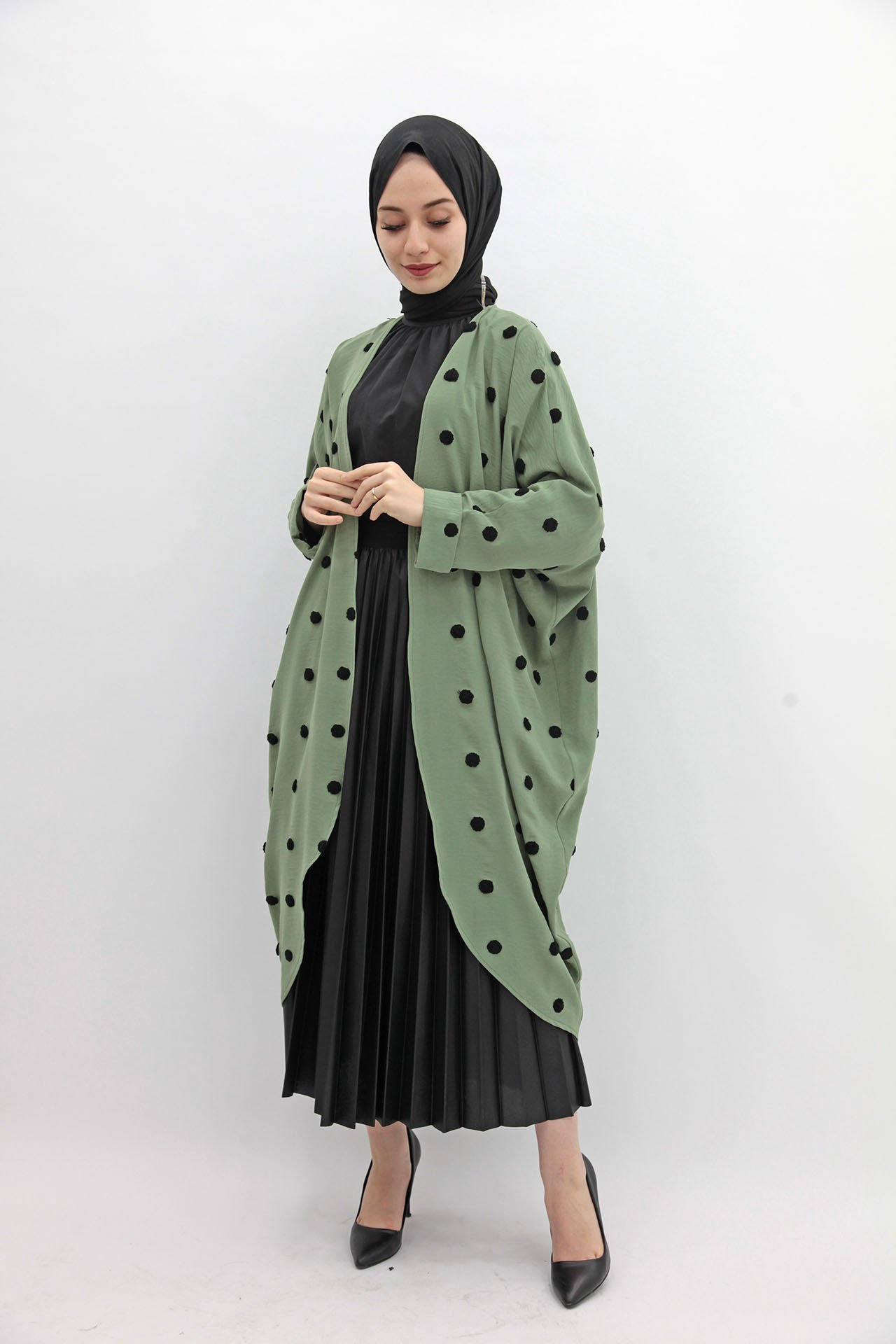 GİZAGİYİM - Puantiyeli Kimono Yeşil