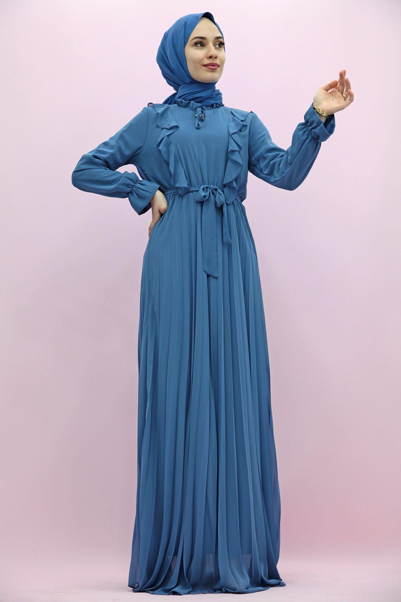 GİZAGİYİM - Eteği Piliseli Şifon Elbise İndigo
