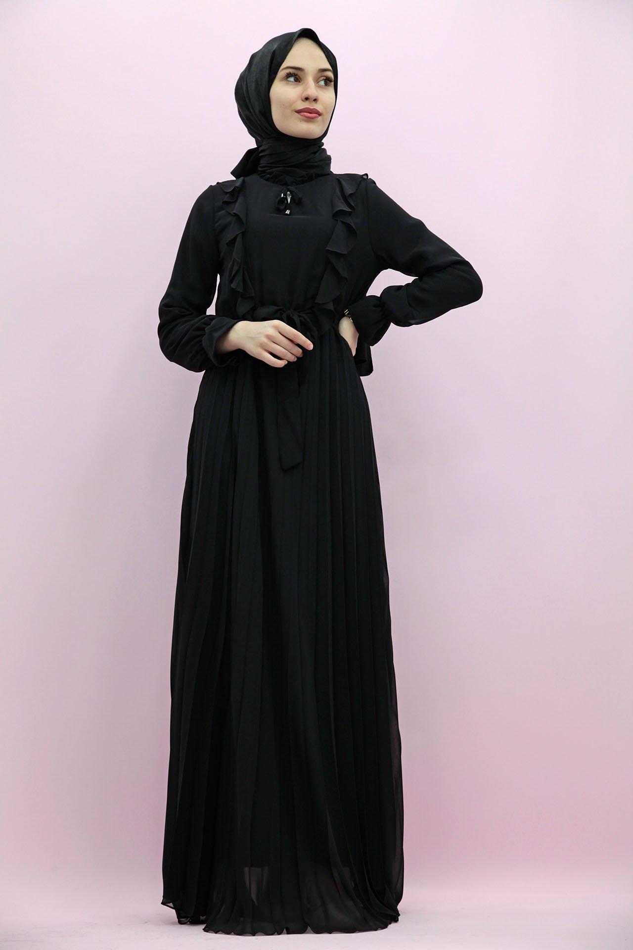 GİZAGİYİM - Eteği Piliseli Şifon Elbise Siyah