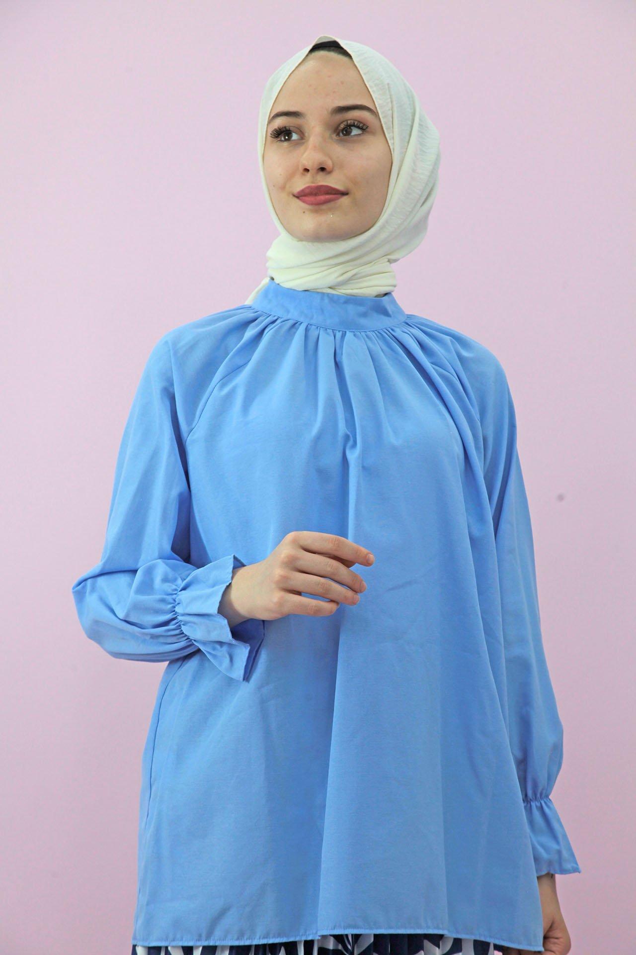 GİZAGİYİM - Sırttan Fermuarlı Gömlek Bebe mavi