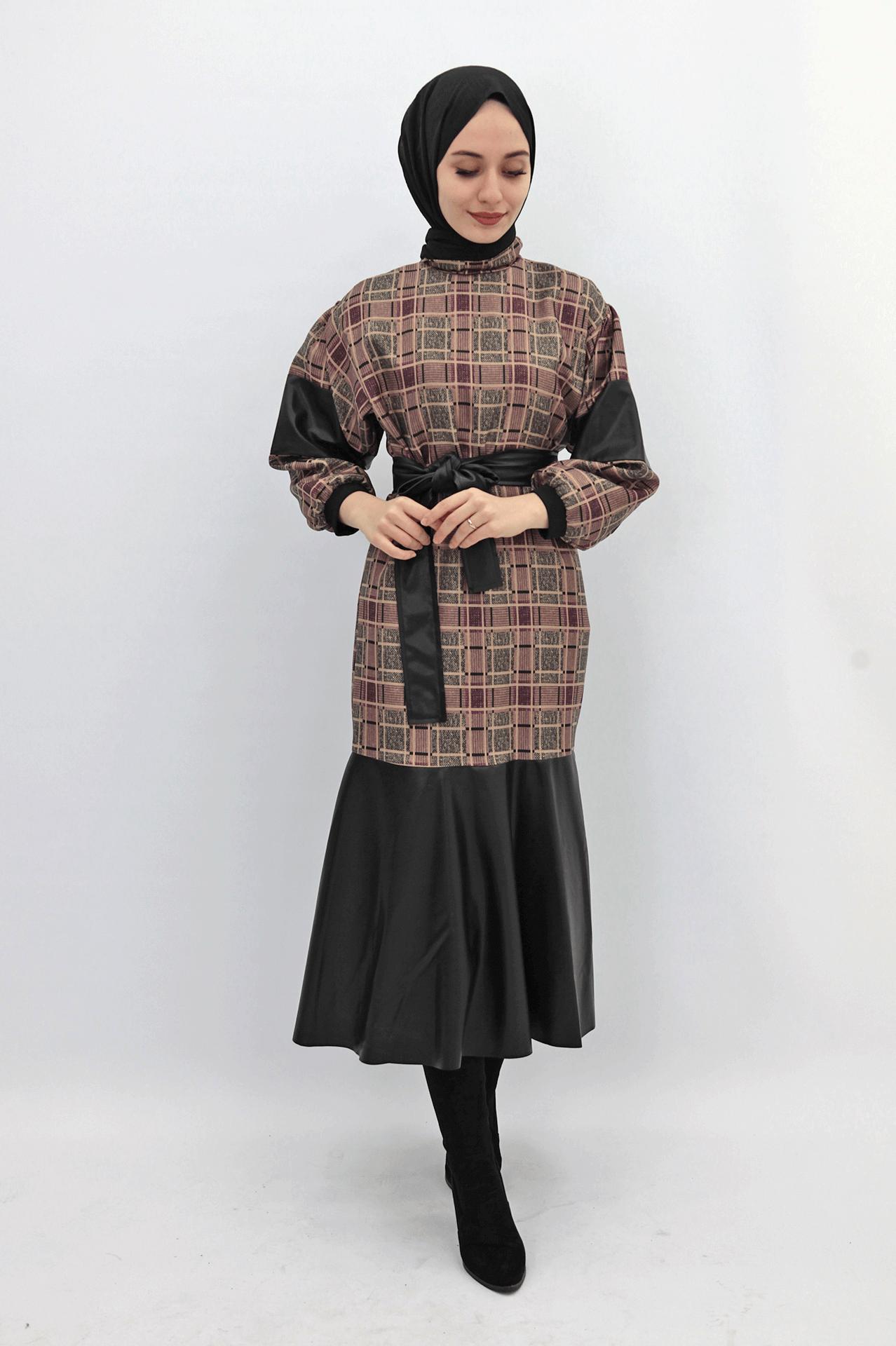 Giza - Deri Detaylı Elbise - VİZON - 039152