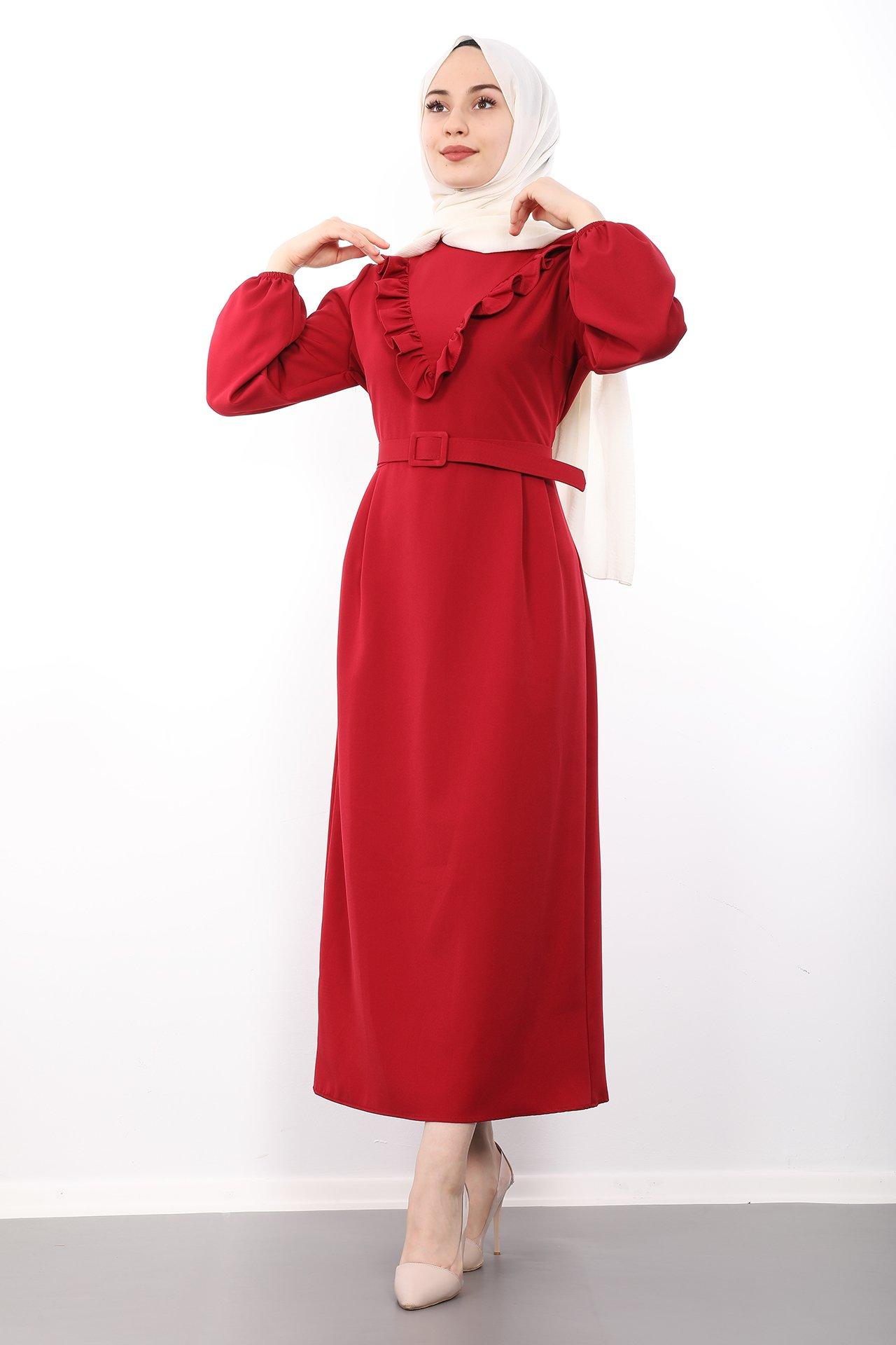 GİZAGİYİM - Giza Önü Fırfırlı Kalem Elbise Bordo