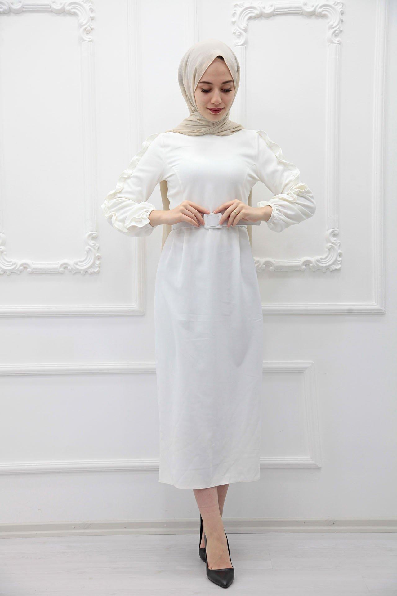 GİZAGİYİM - Kolları Fırfırlı Elbise Beyaz