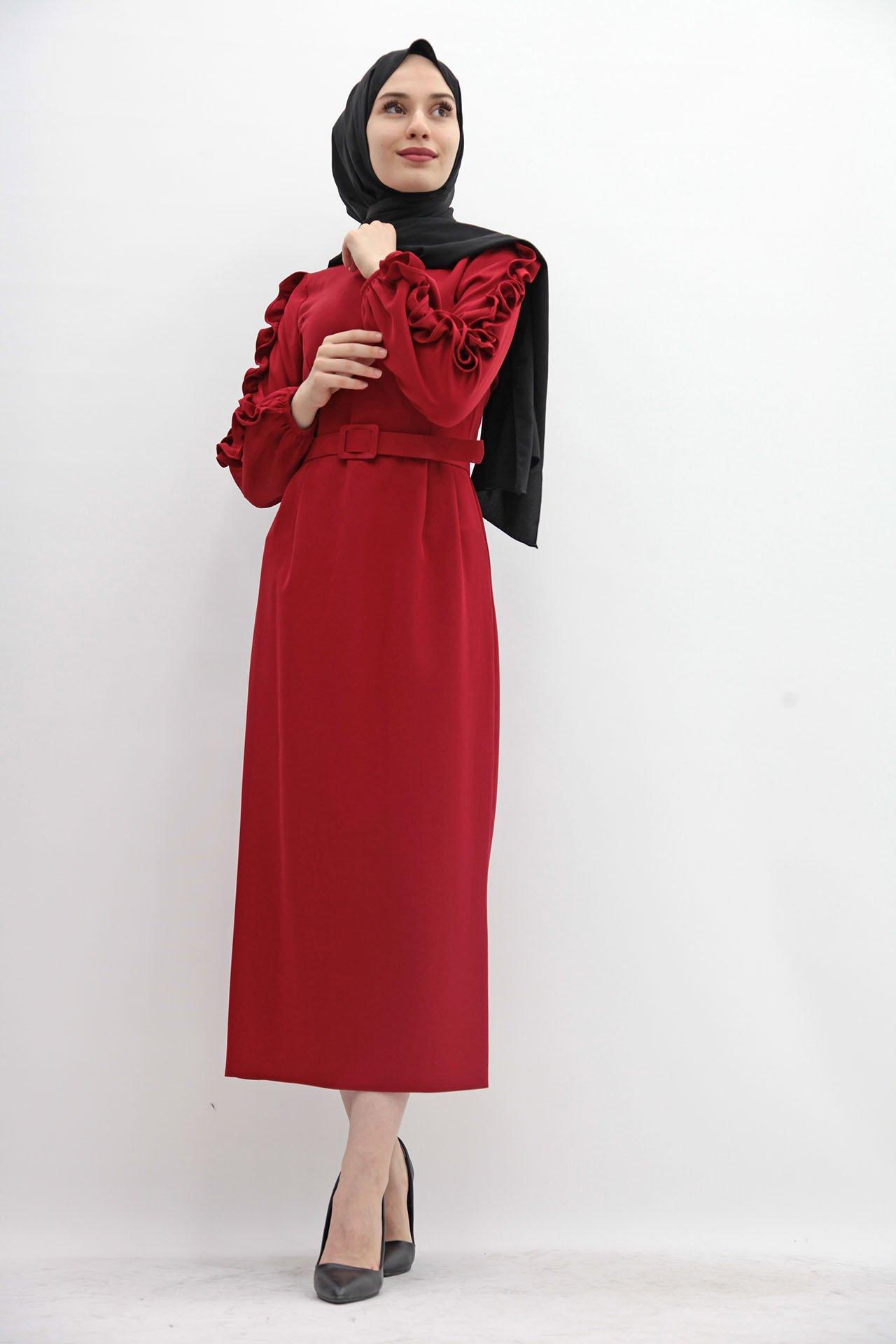 GİZAGİYİM - Kolları Fırfırlı Elbise Bordo