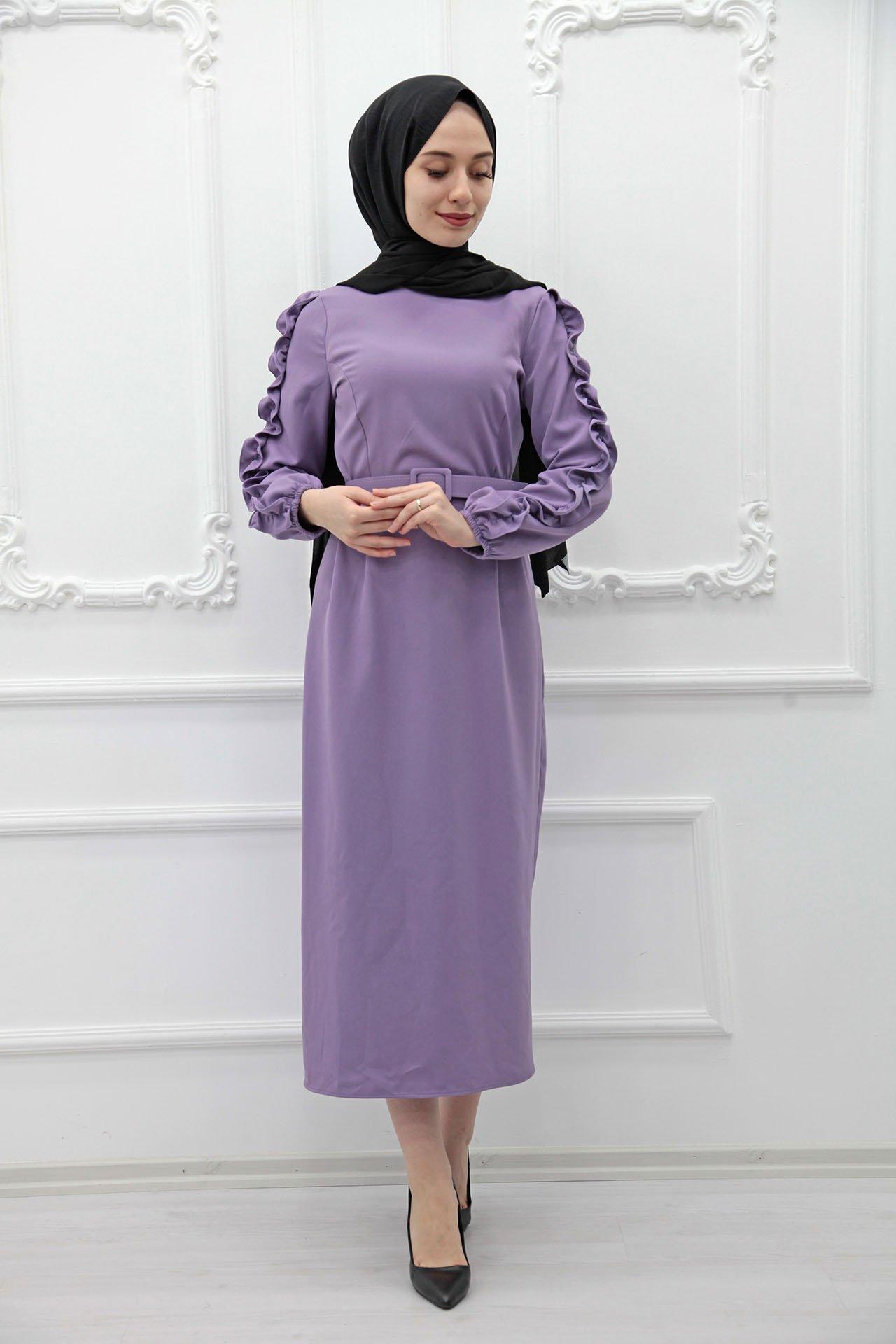 GİZAGİYİM - Kolları Fırfırlı Elbise Lila