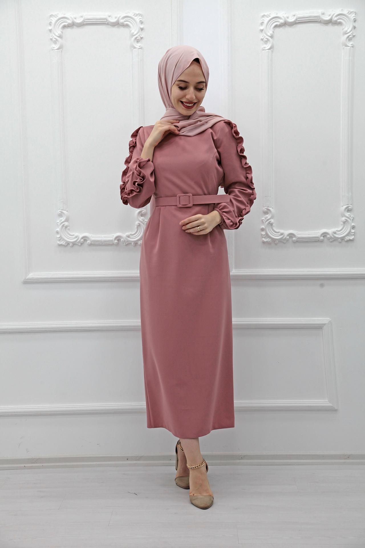 GİZAGİYİM - Kolları Fırfırlı Elbise Pembe