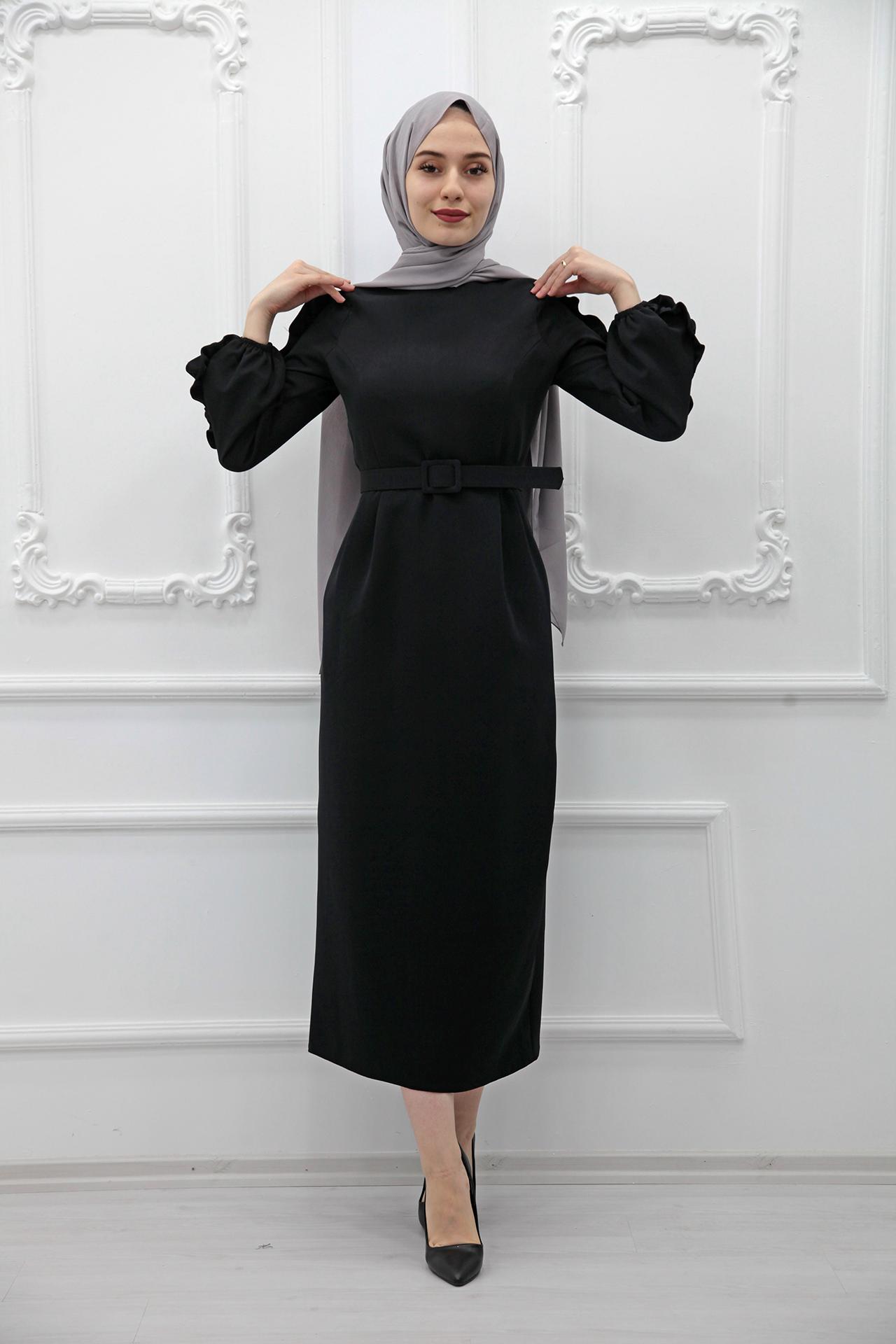 GİZAGİYİM - Kolları Fırfırlı Elbise Siyah