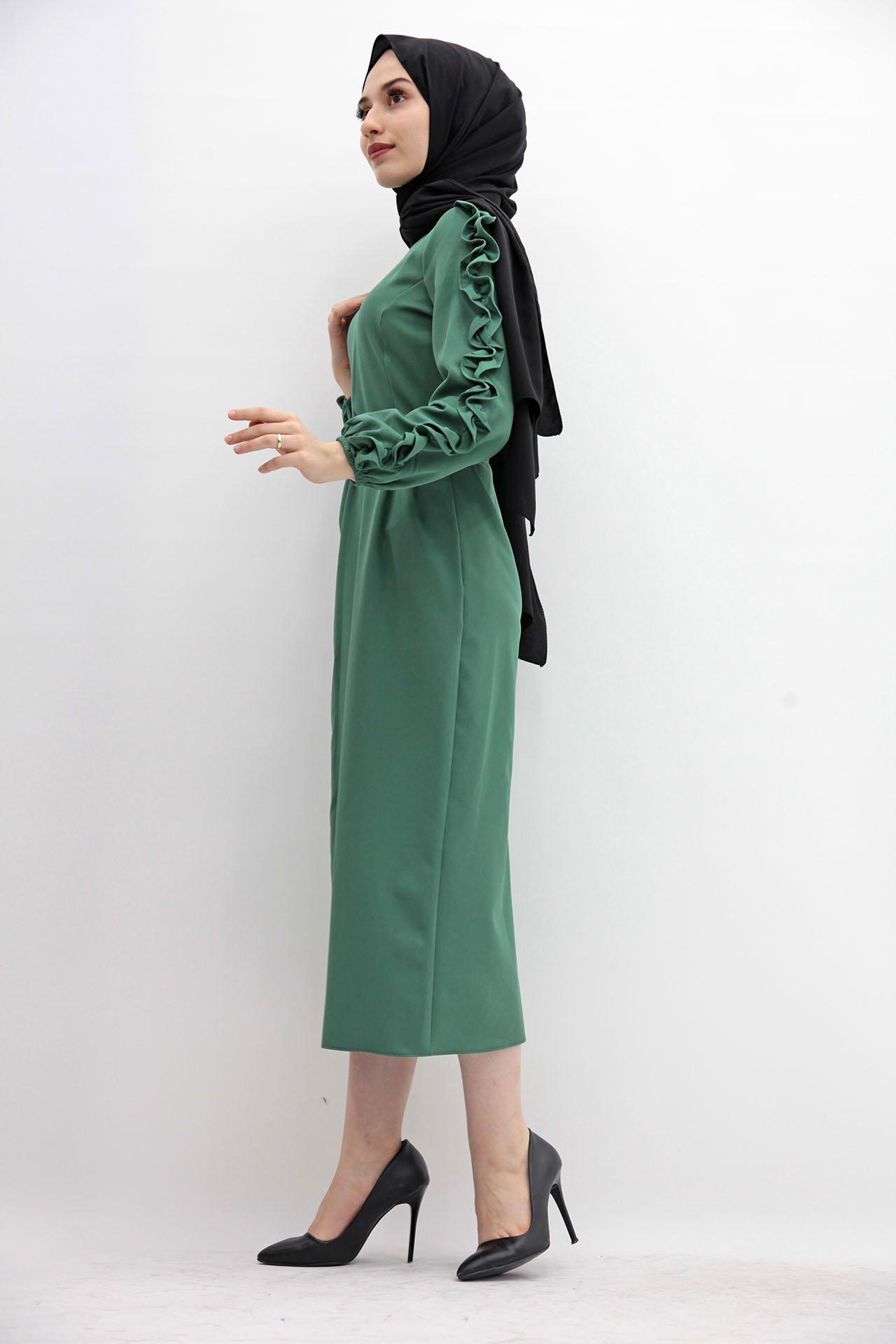 Kolları Fırfırlı Elbise Yeşil - Thumbnail
