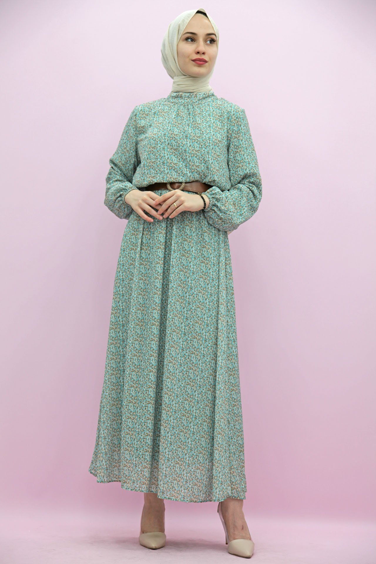 GİZAGİYİM - Beli Lastikli Kemerli Elbise Mint