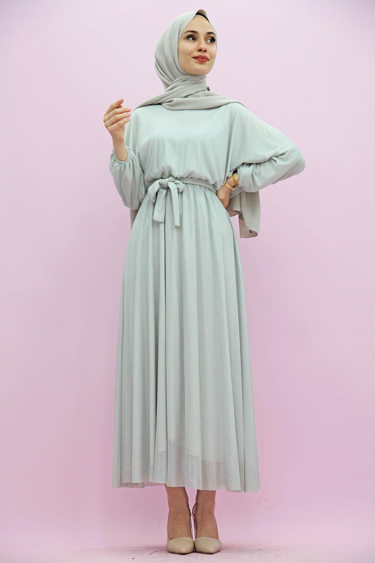 GİZAGİYİM - Simli Şifon Elbise Açık Gri
