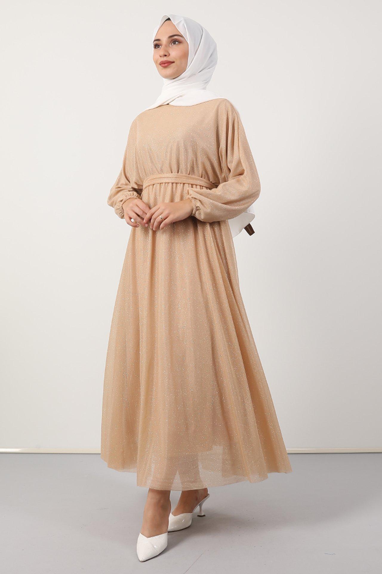 GİZAGİYİM - Simli Şifon Elbise Bal köpüğü