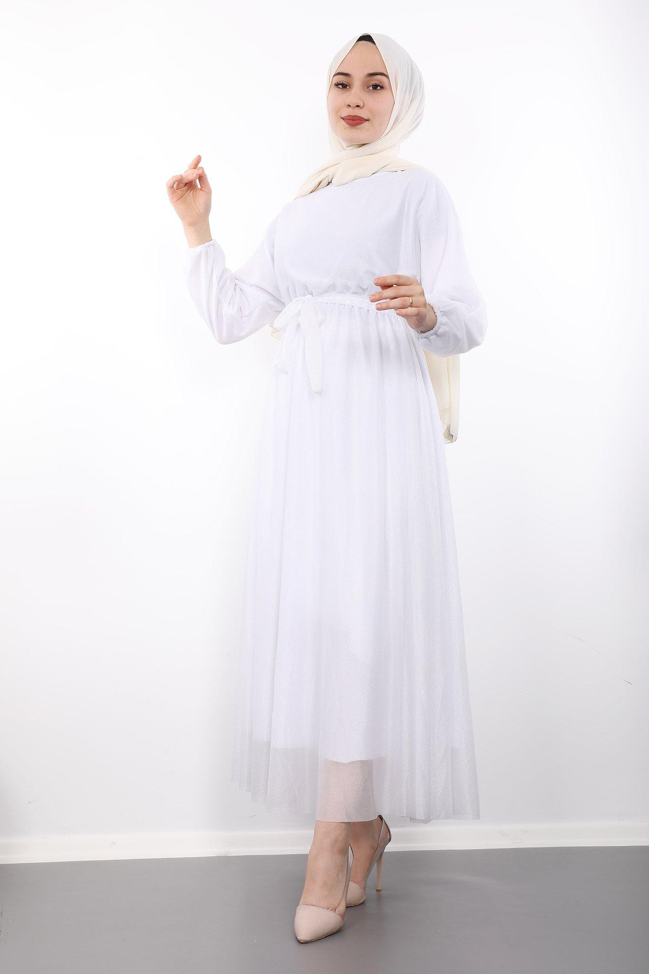 GİZAGİYİM - Simli Şifon Elbise Beyaz