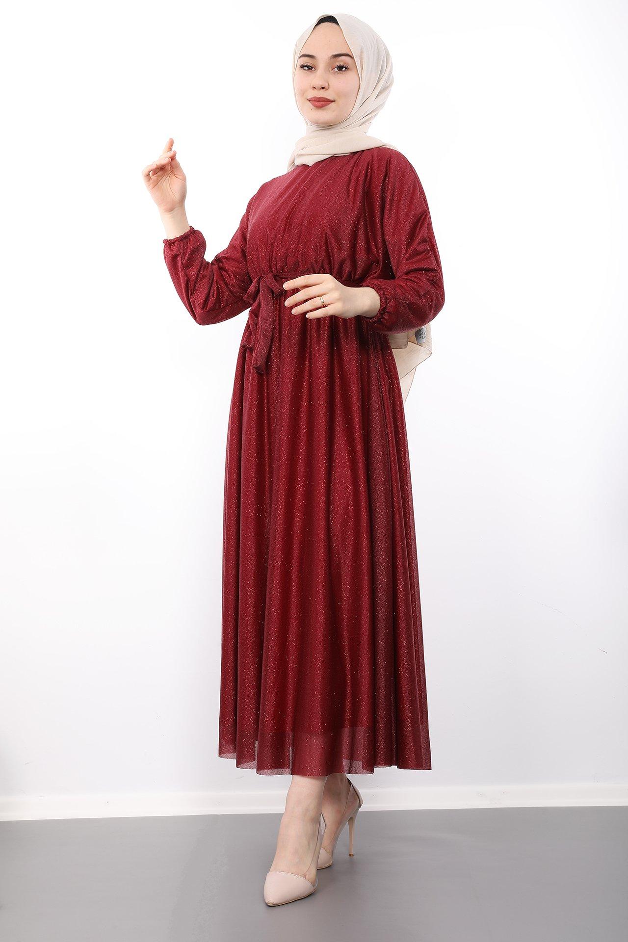 GİZAGİYİM - Giza Simli Şifon Elbise Bordo