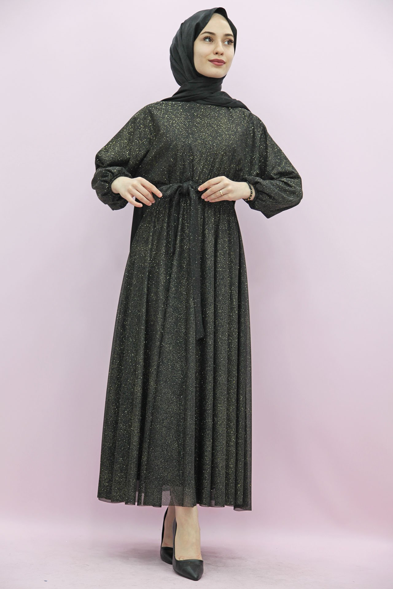 GİZAGİYİM - Simli Şifon Elbise Gold Simli