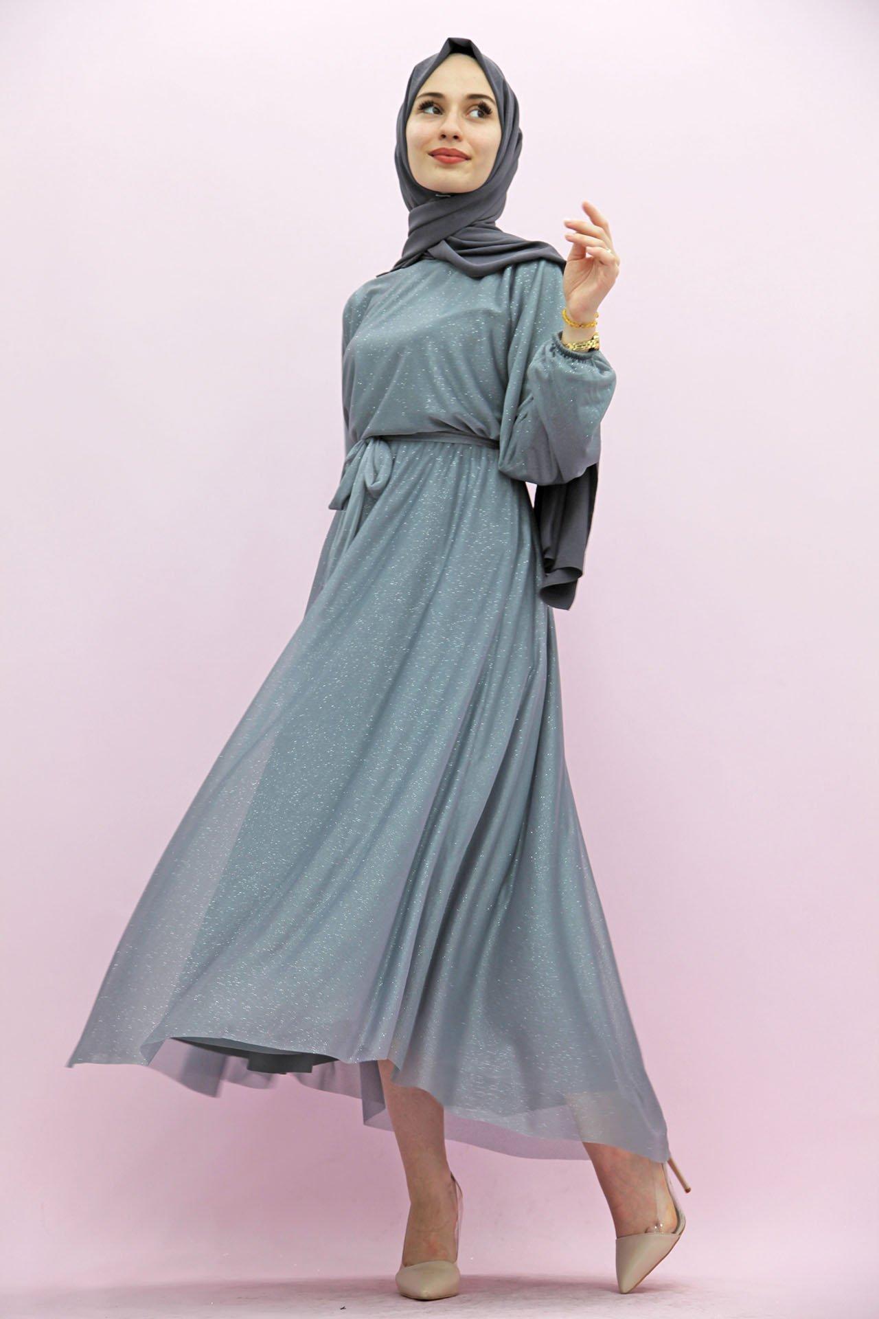 GİZAGİYİM - Giza Simli Şifon Elbise Gri
