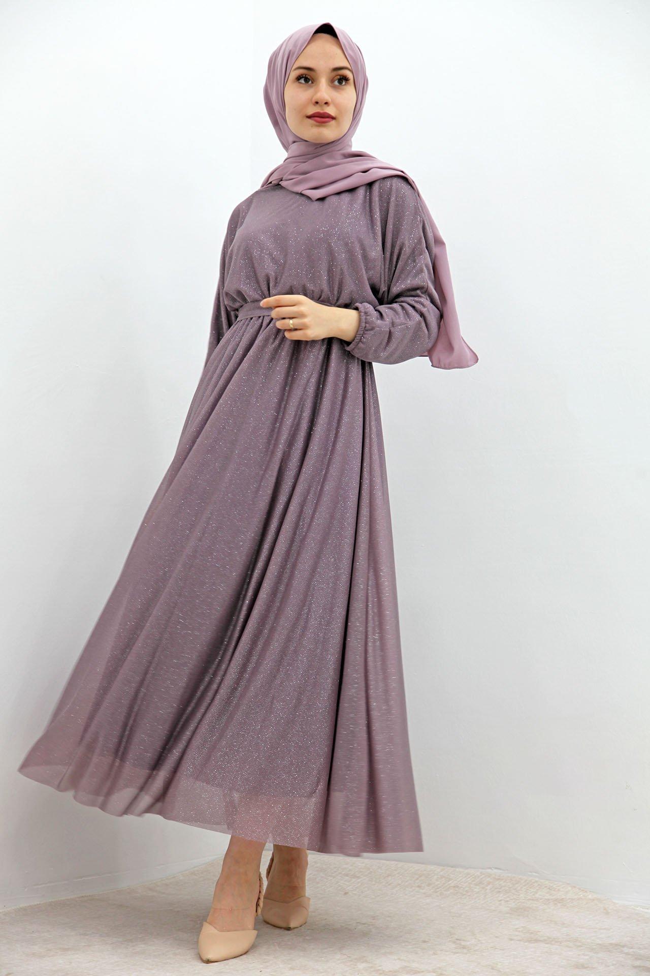 Giza Simli Şifon Elbise Gül Kurusu - Thumbnail