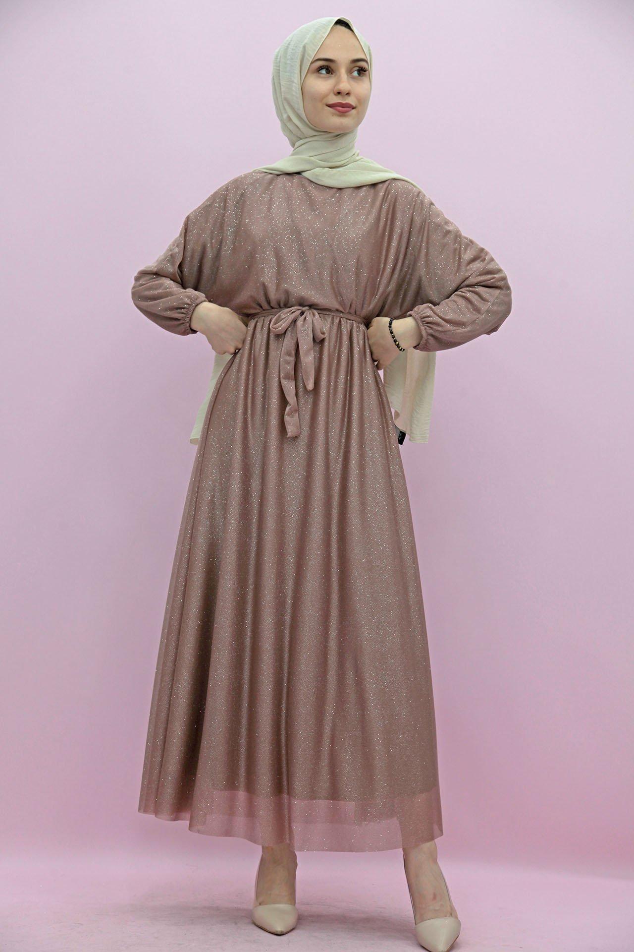 GİZAGİYİM - Giza Simli Şifon Elbise Gül kahve
