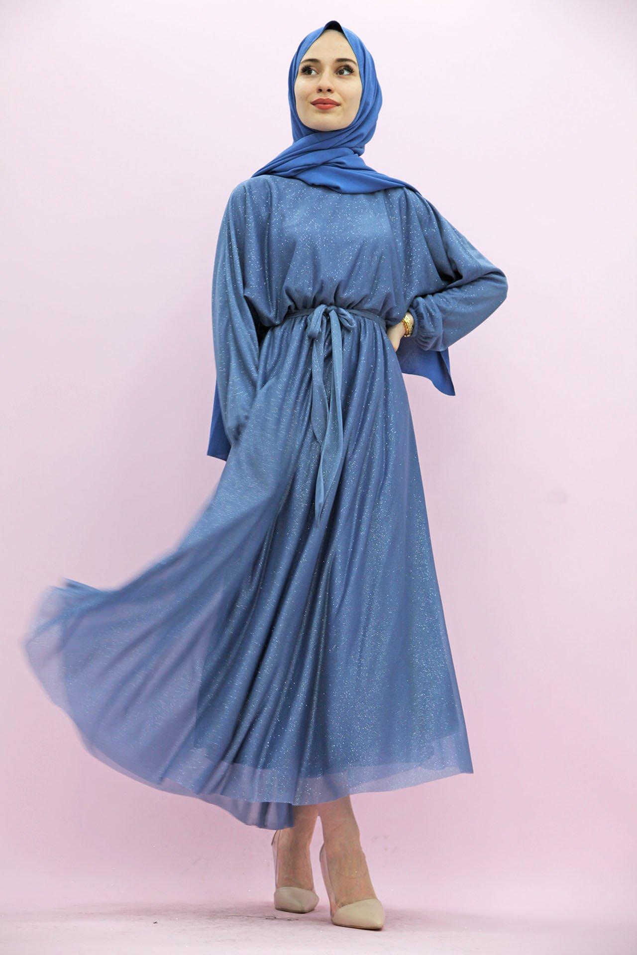 GİZAGİYİM - Simli Şifon Elbise İndigo