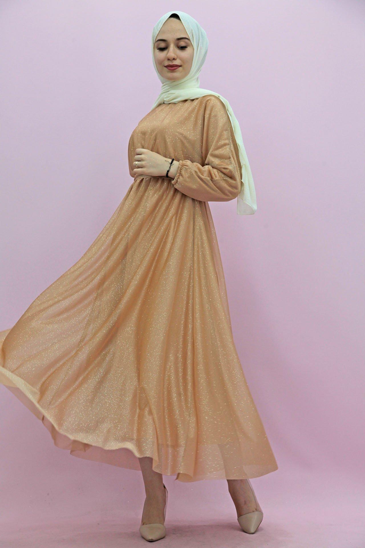 GİZAGİYİM - Simli Şifon Elbise Kehribar