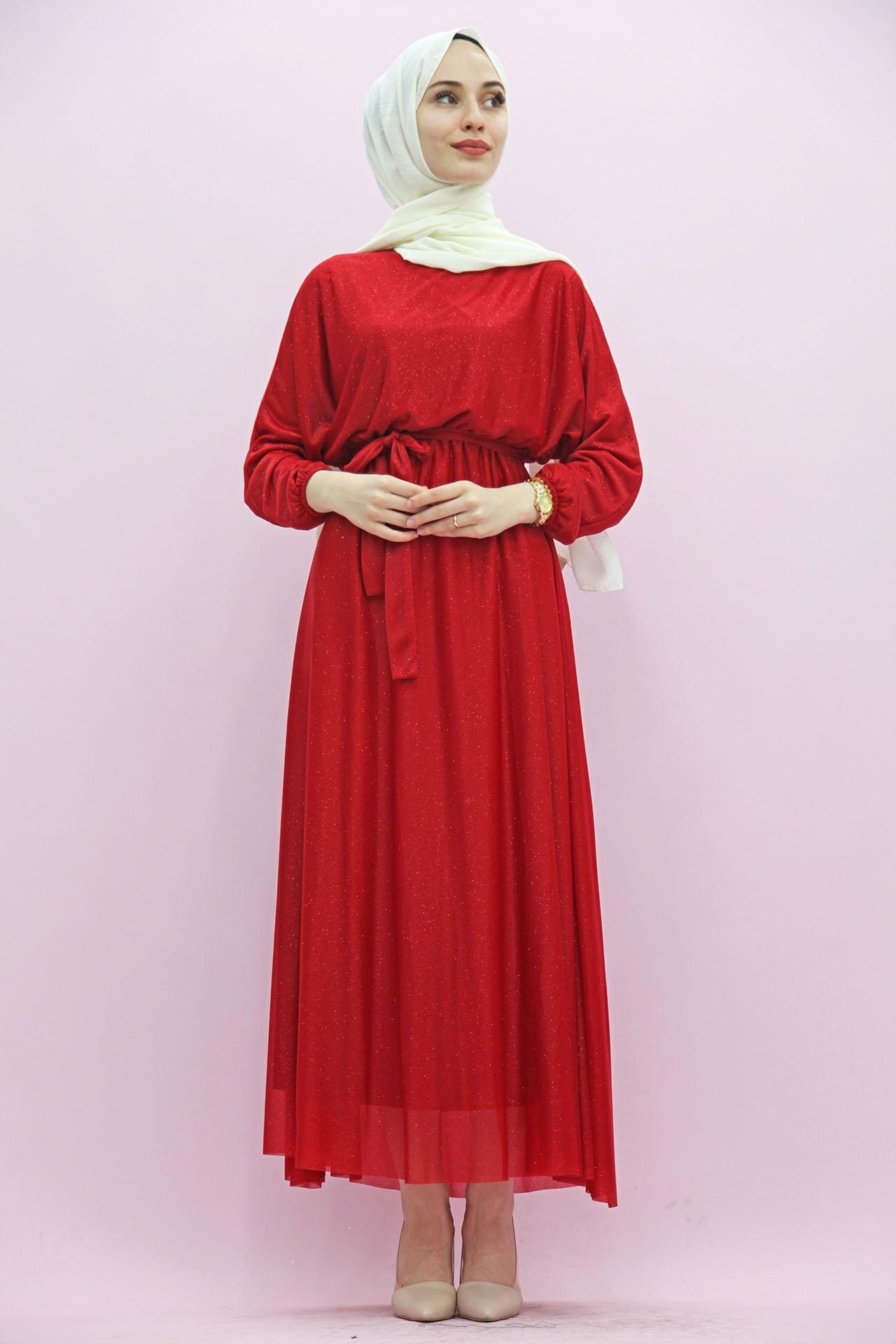 GİZAGİYİM - Giza Simli Şifon Elbise Kırmızı
