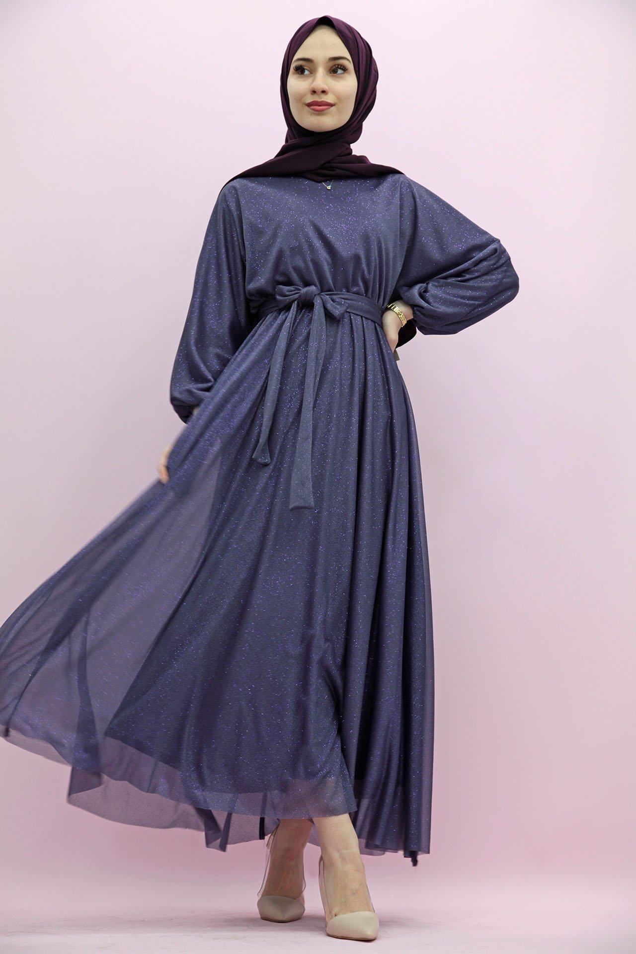 GİZAGİYİM - Simli Şifon Elbise Koyu Mor