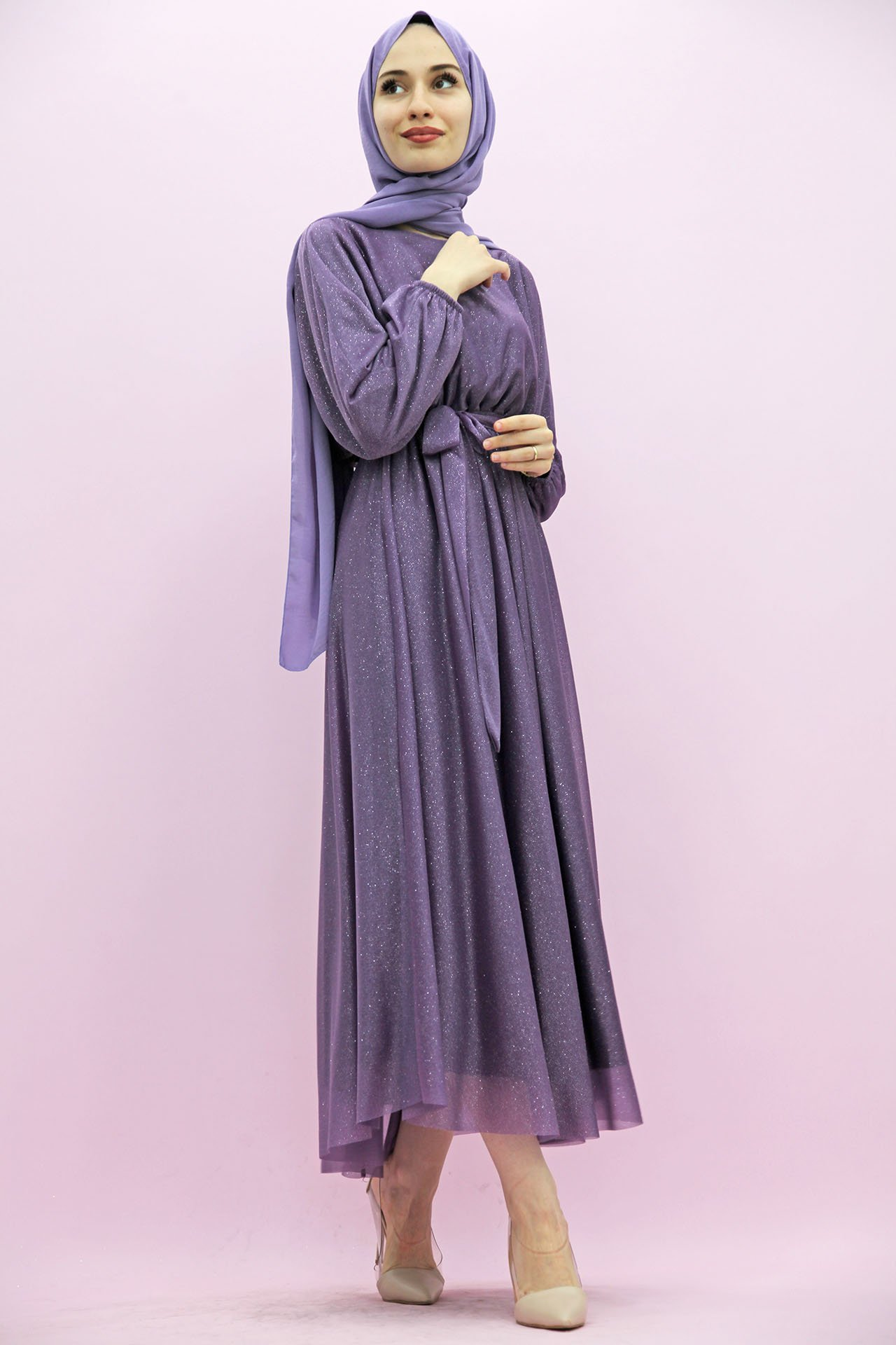 GİZAGİYİM - Giza Simli Şifon Elbise Lila