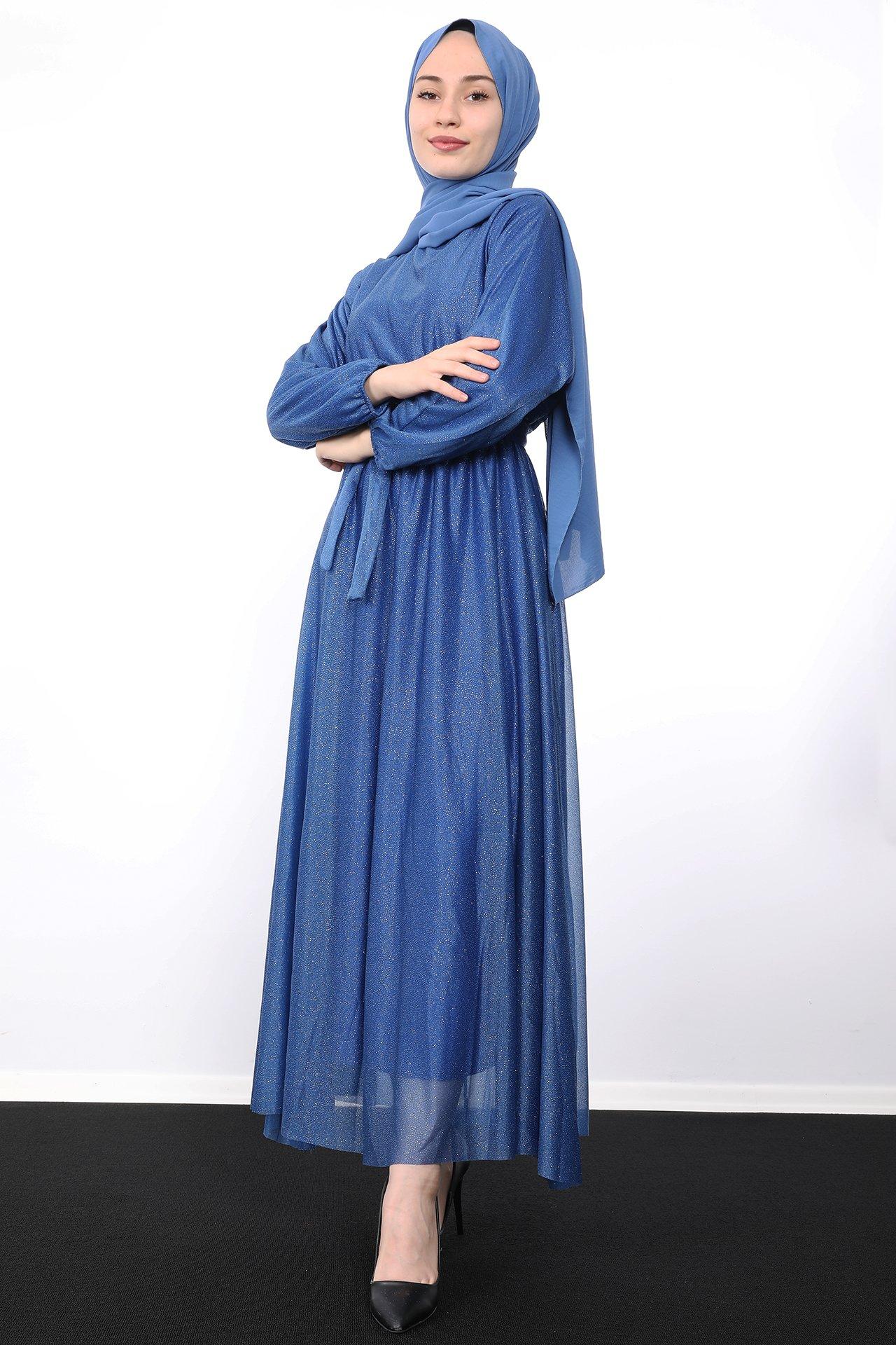 GİZAGİYİM - Simli Şifon Elbise Gece Mavi
