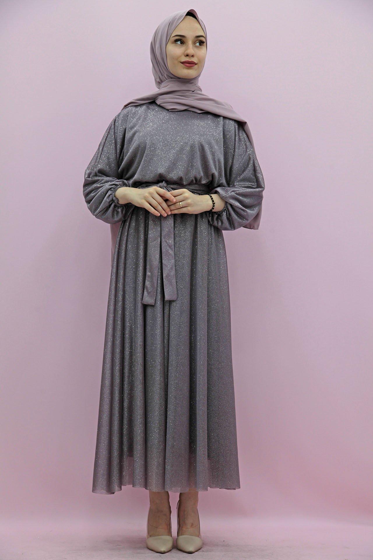 GİZAGİYİM - Simli Şifon Elbise Mor Salkım