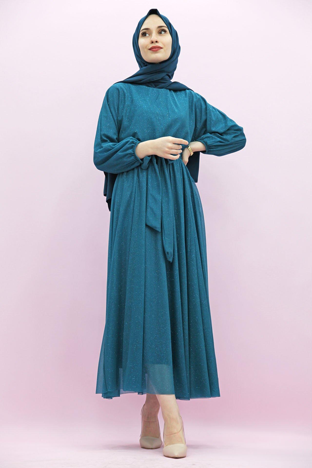 GİZAGİYİM - Simli Şifon Elbise Turkuaz