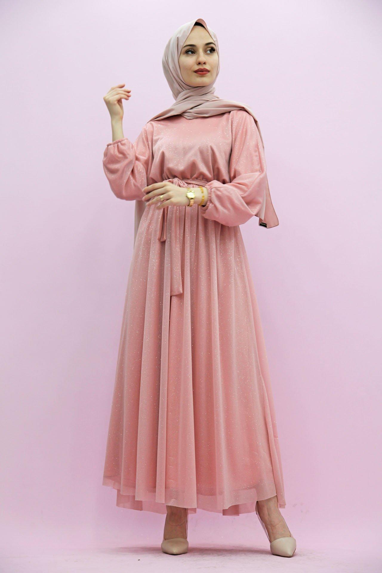 GİZAGİYİM - Simli Şifon Elbise Yavruağzı