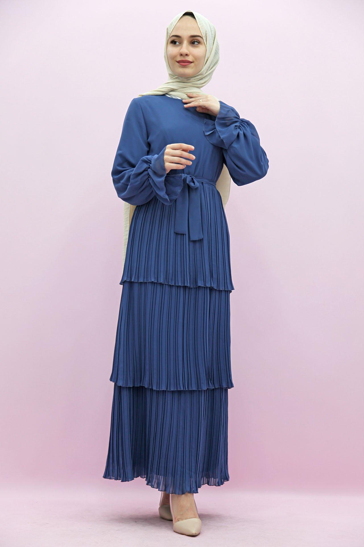 GİZAGİYİM - Pilisoley Kat Kat Elbise Mavi