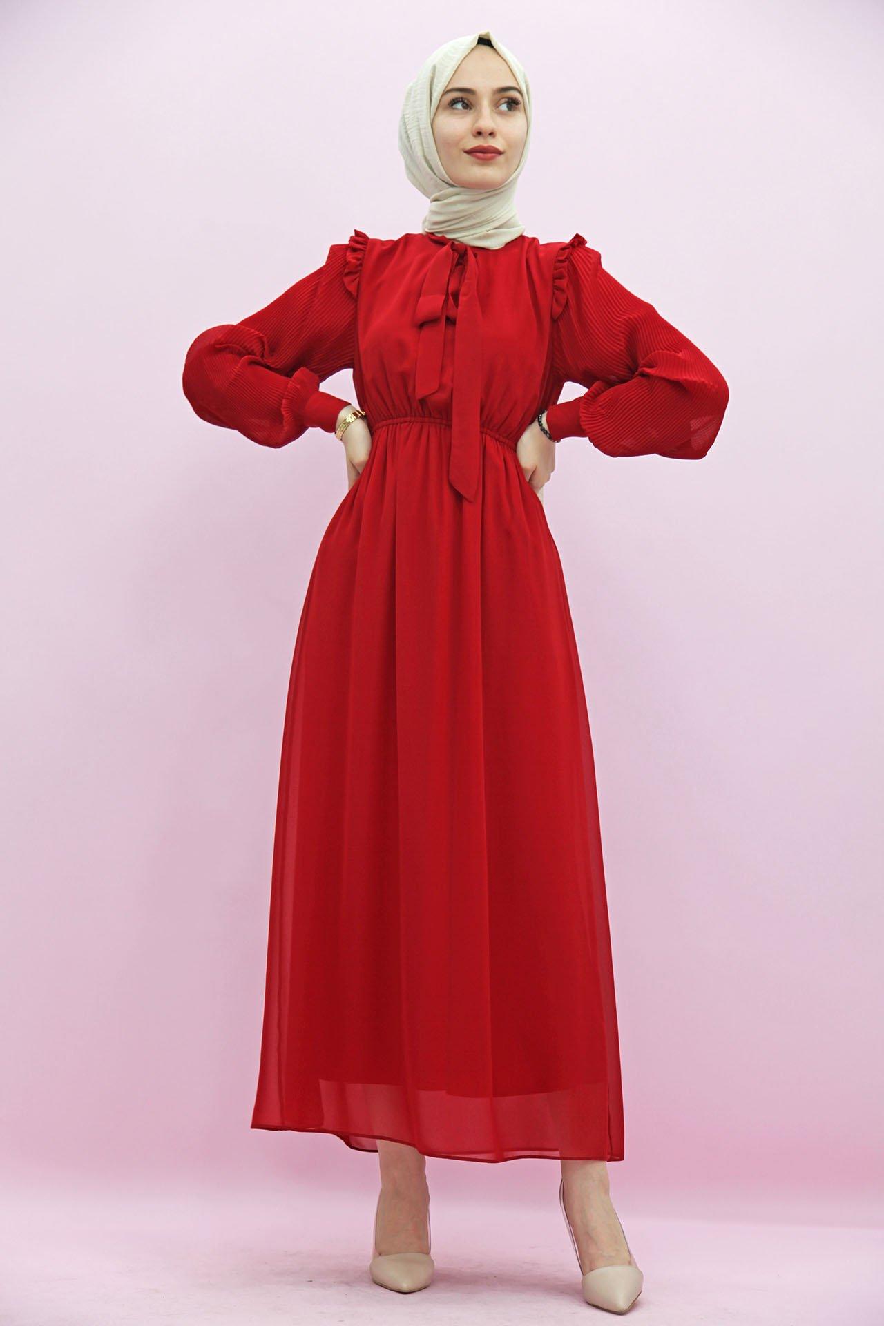 GİZAGİYİM - Kolları Piliseli Tesettür Elbise Kırmızı