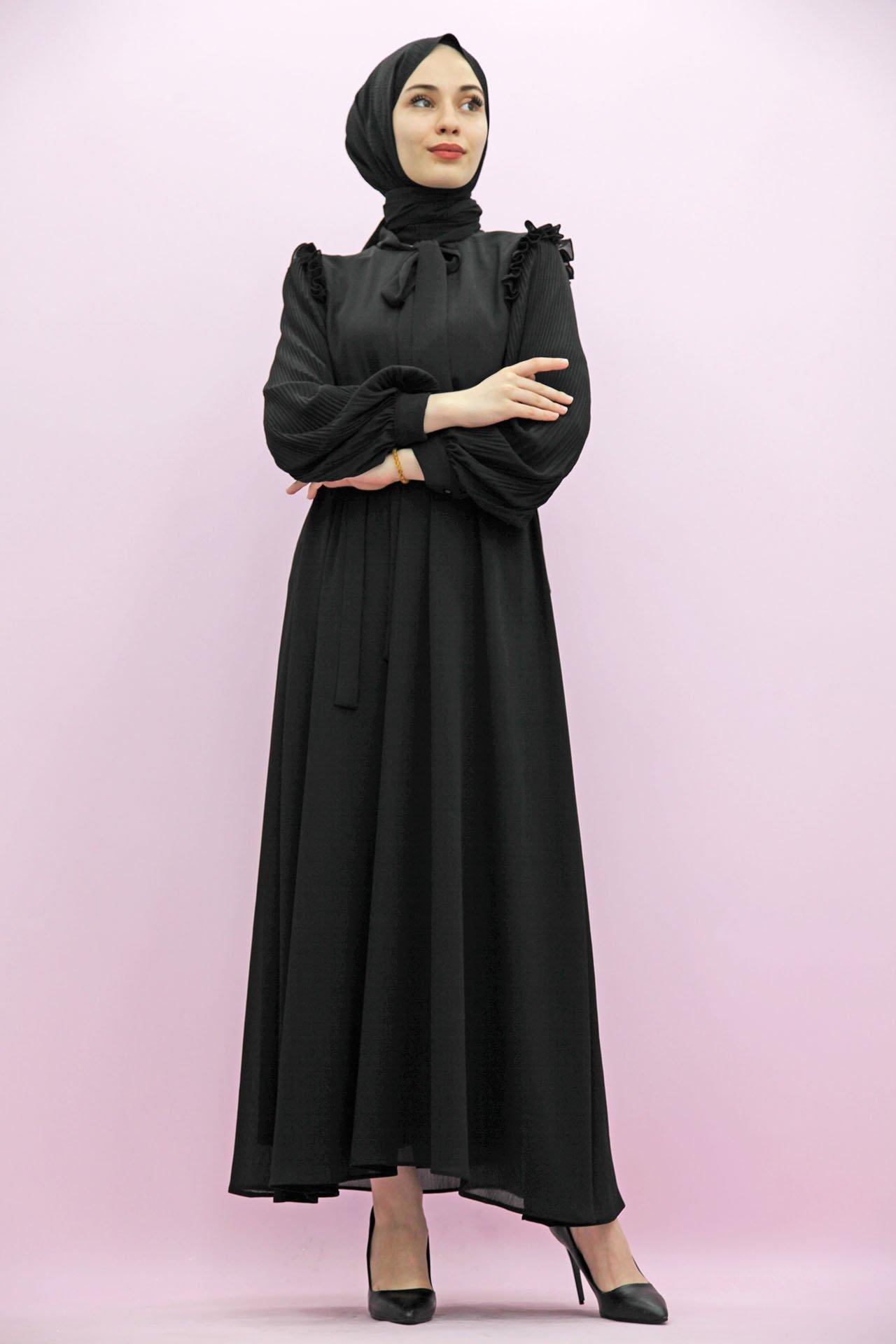 GİZAGİYİM - Kolları Piliseli Tesettür Elbise Siyah