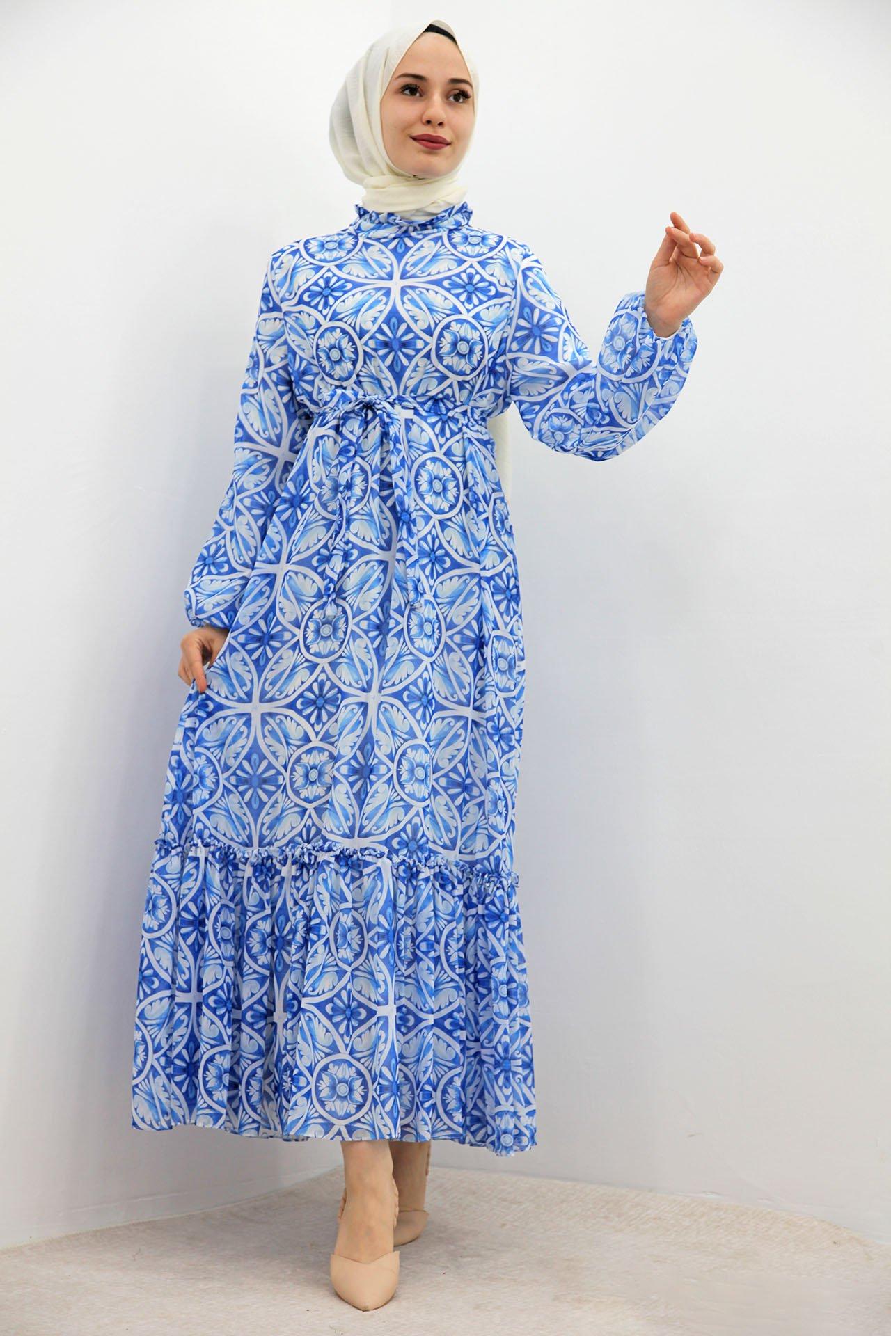 GİZAGİYİM - Eteği Fırfırlı Şifon Elbise Mavi