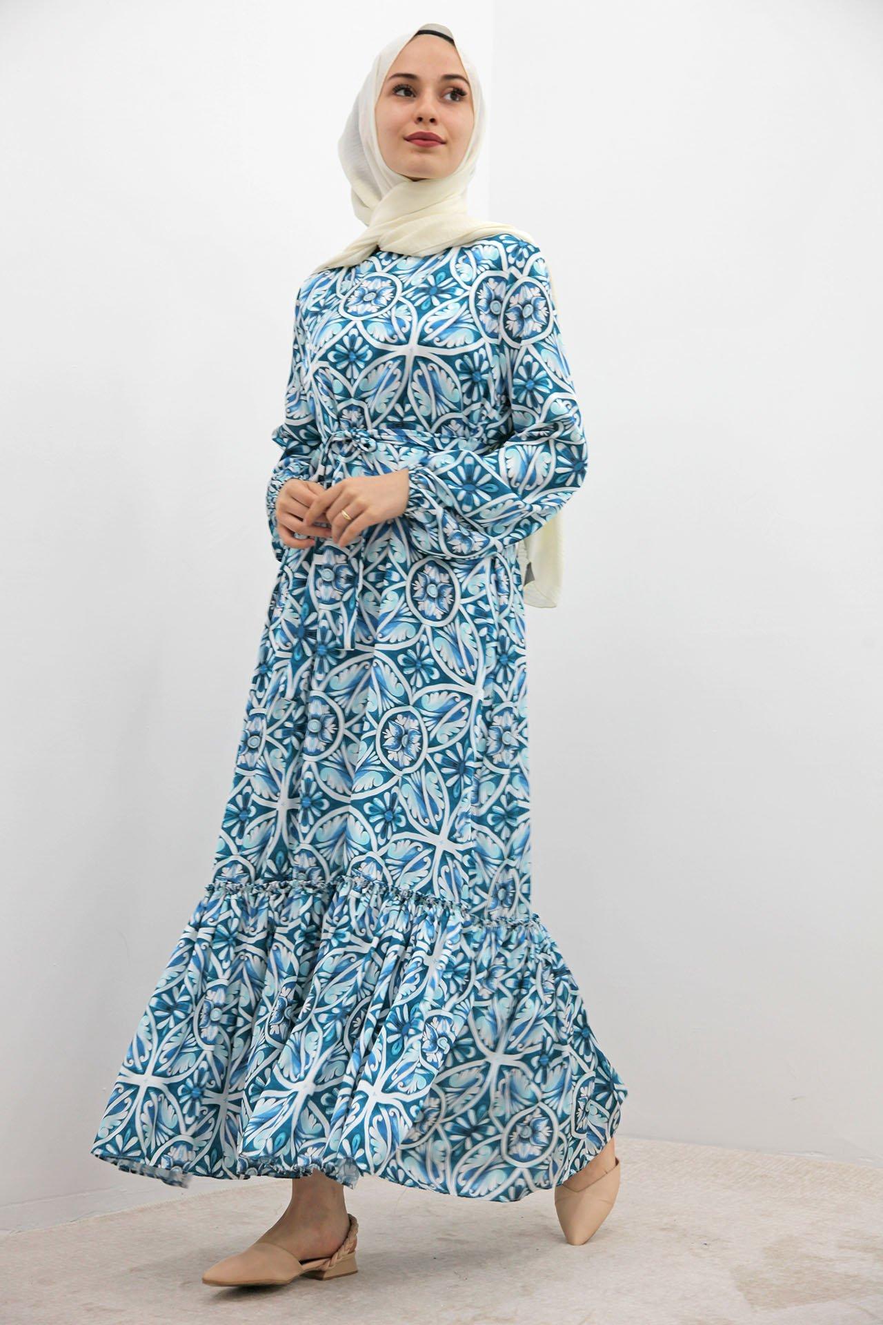 GİZAGİYİM - Eteği Fırfırlı Şifon Elbise Turkuaz