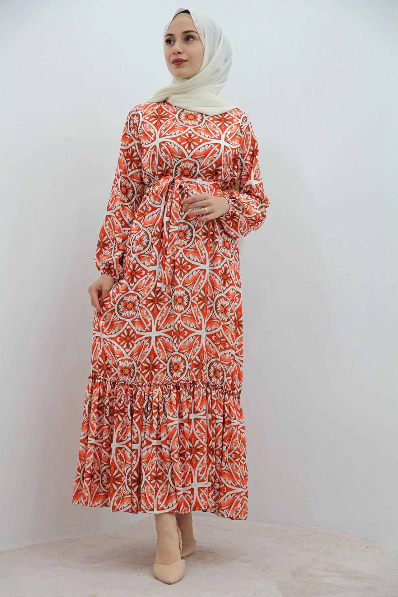 GİZAGİYİM - Eteği Fırfırlı Şifon Elbise Turuncu
