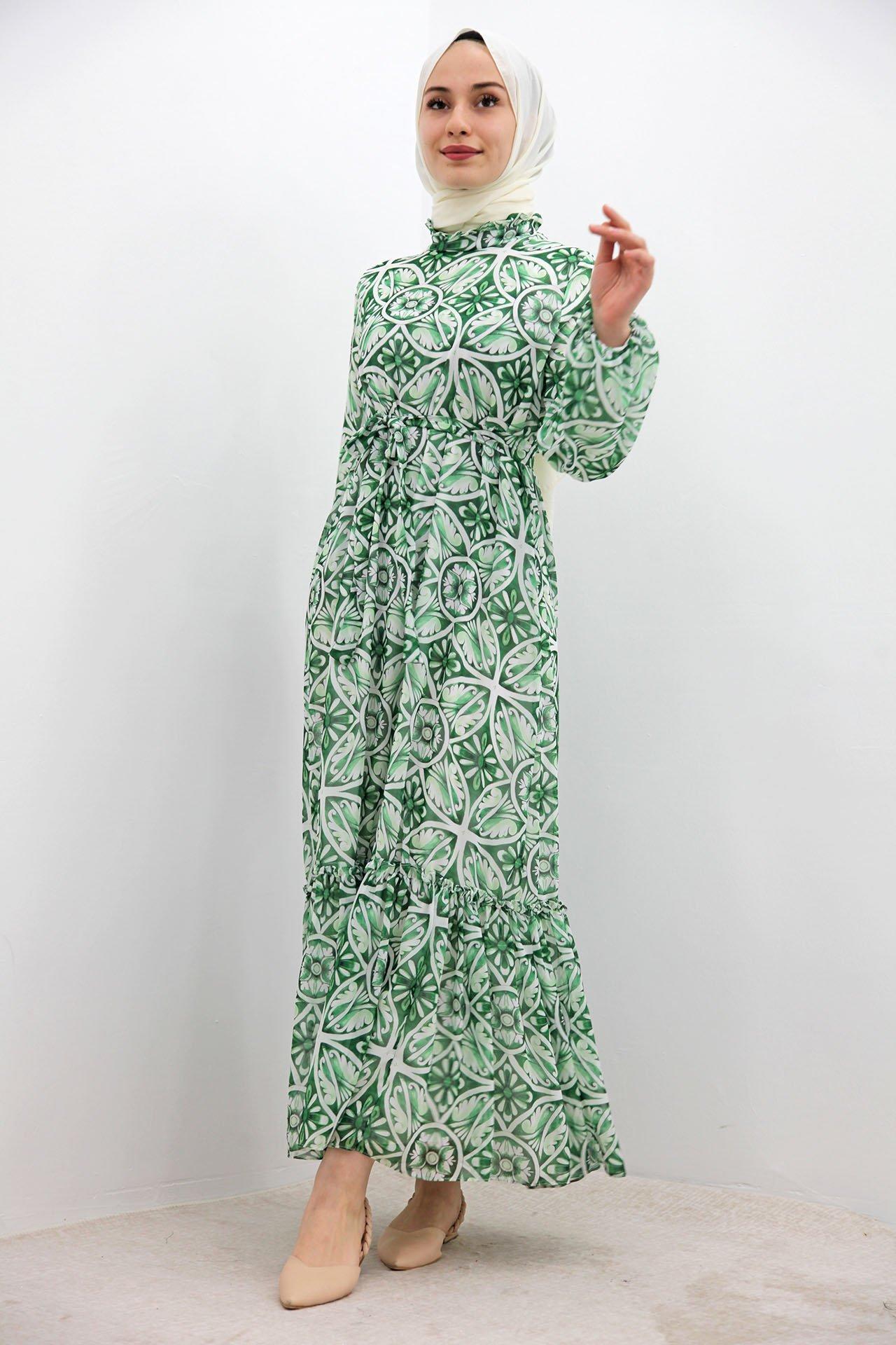 Eteği Fırfırlı Şifon Elbise Yeşil - Thumbnail