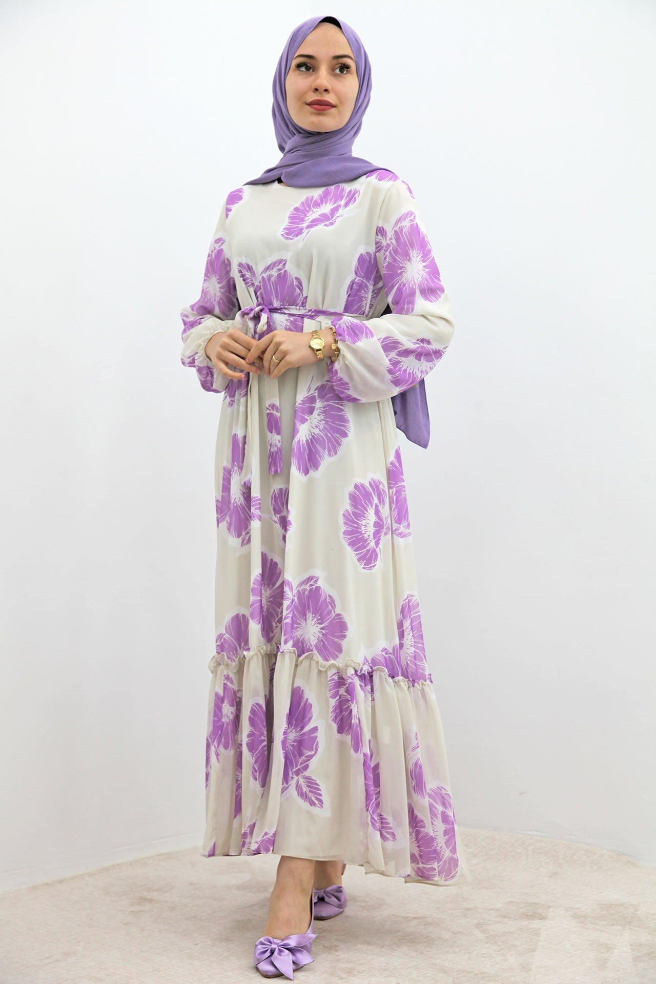 GİZAGİYİM - Çiçekli Şifon Elbise Lila