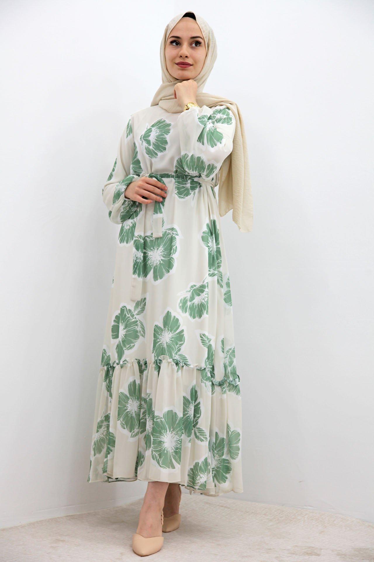 GİZAGİYİM - Çiçekli Şifon Elbise Yeşil