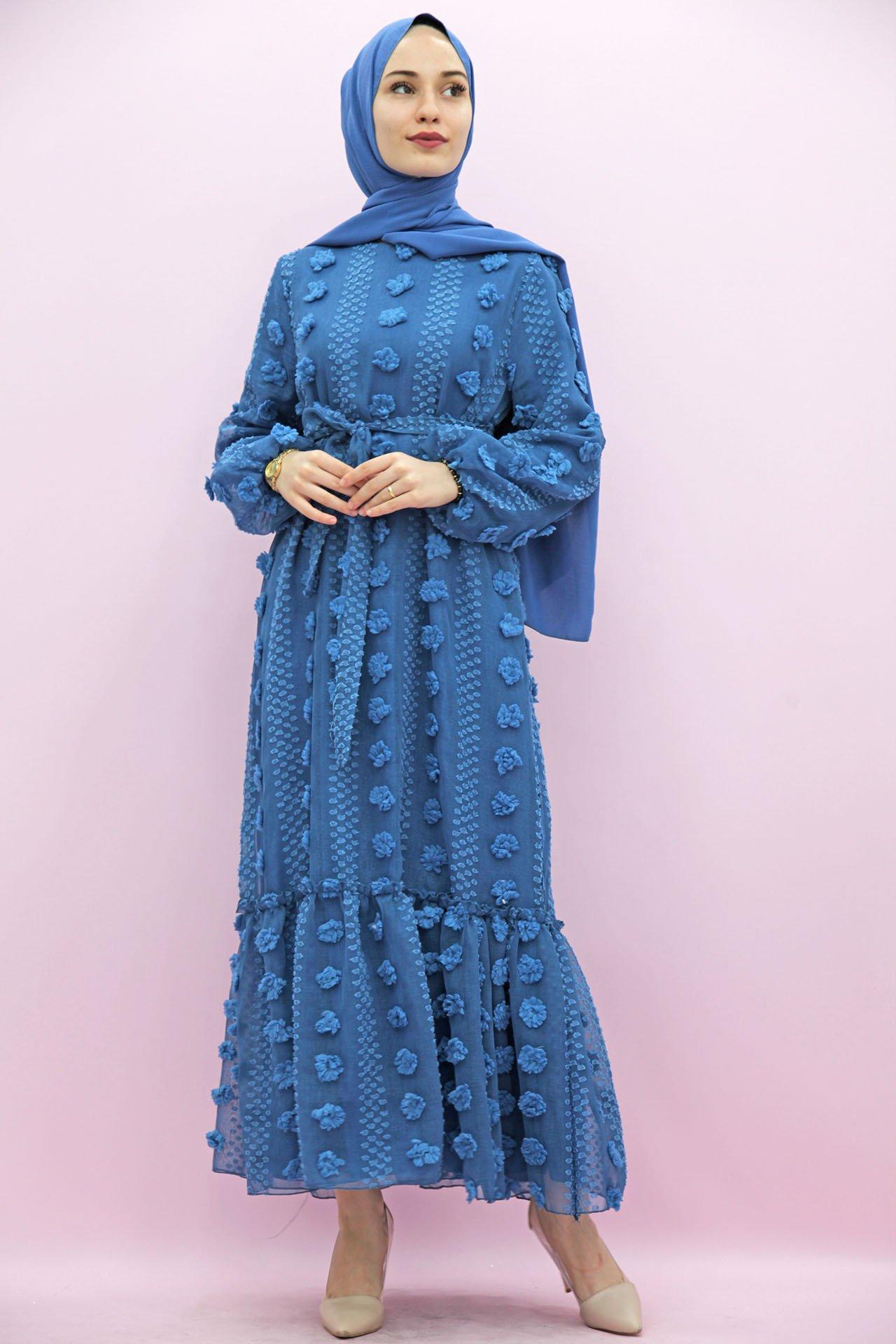 GİZAGİYİM - İşlemeli Keten Tesettür Elbise İndigo