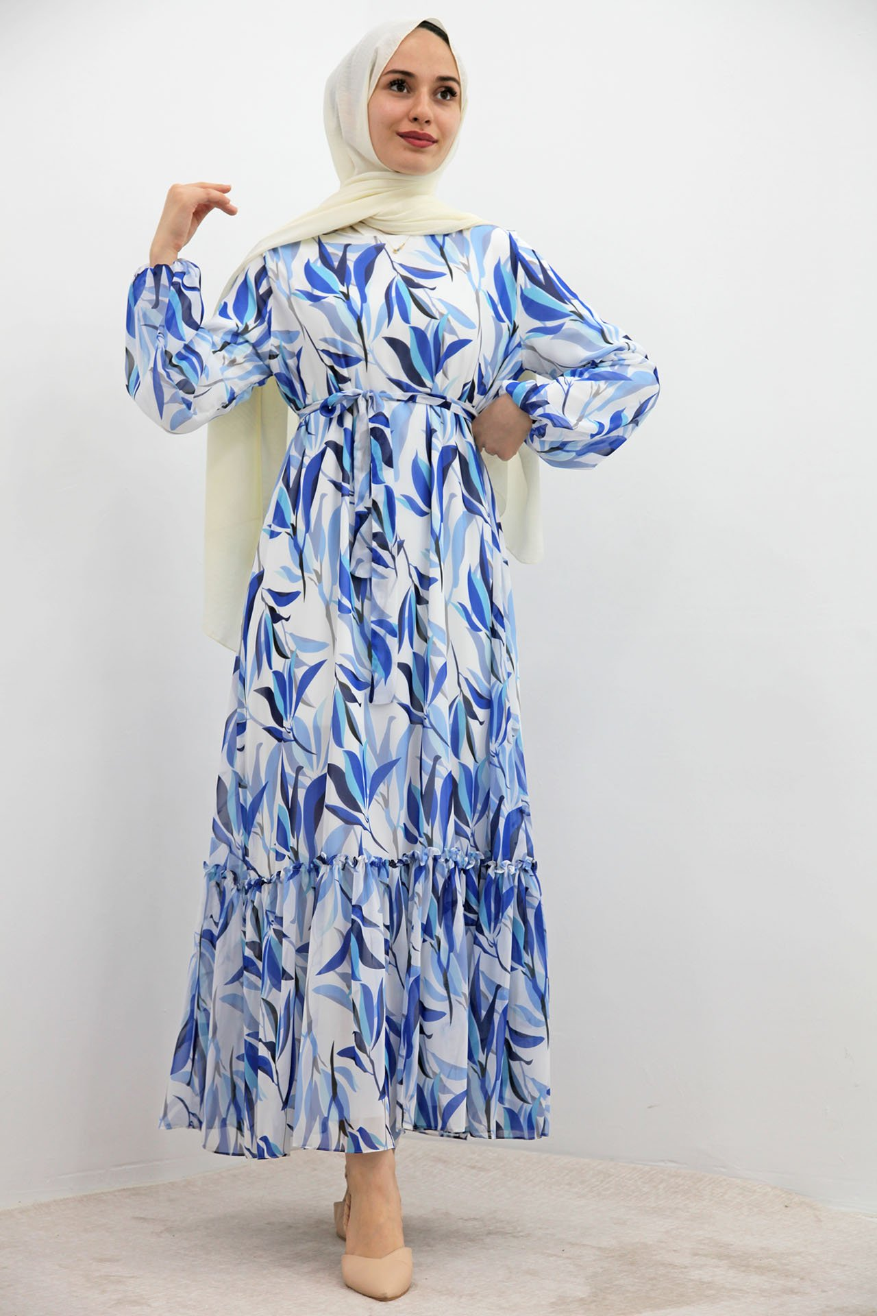 GİZAGİYİM - Bella Çiçek Şifon Elbise Mavi