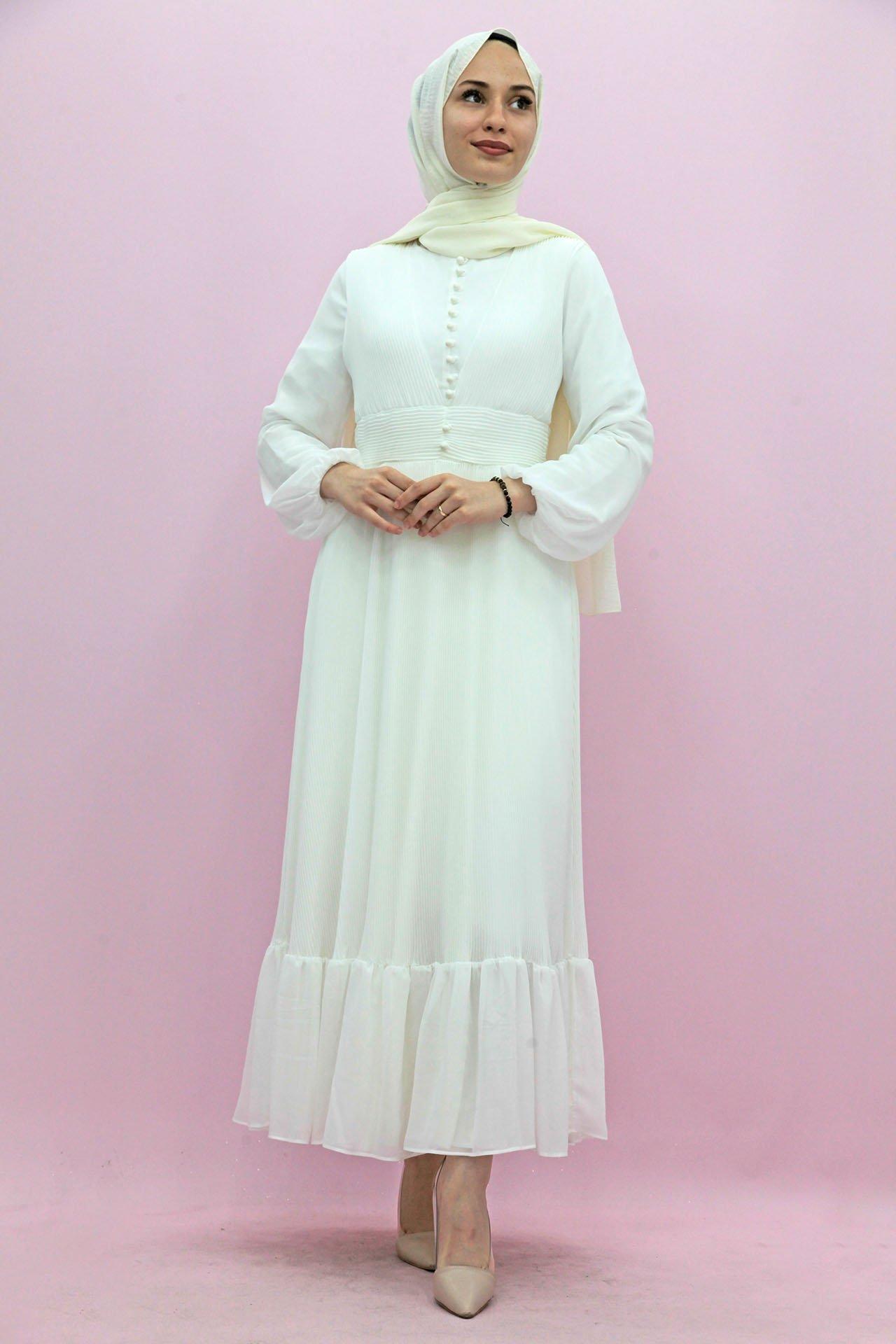 GİZAGİYİM - Altı Fırfırlı Pileli Elbise Beyaz