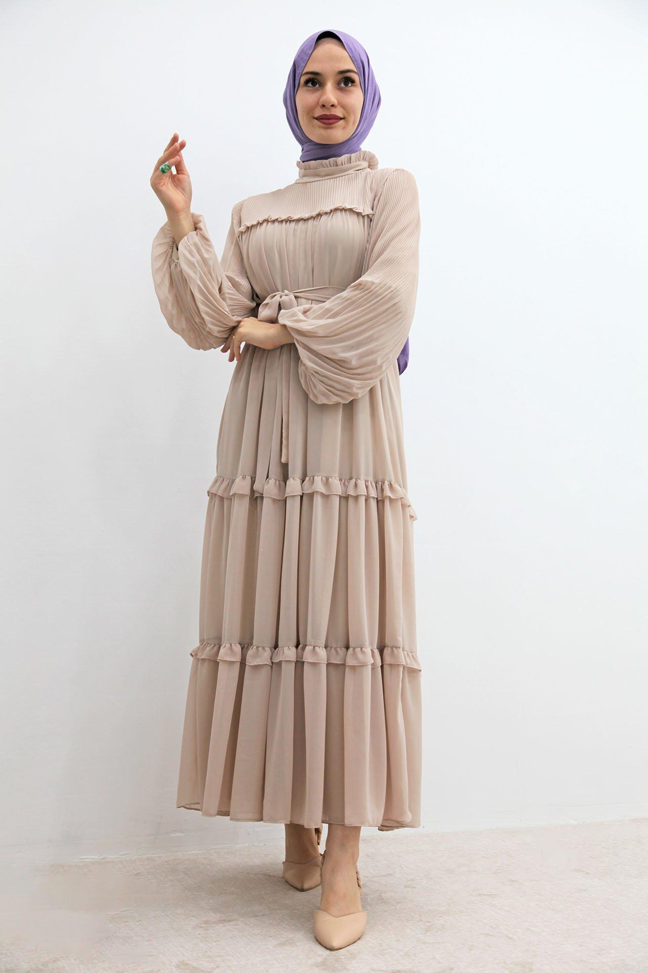 GİZAGİYİM - Fırfırlı Pilisoley Şifon Elbise Krem